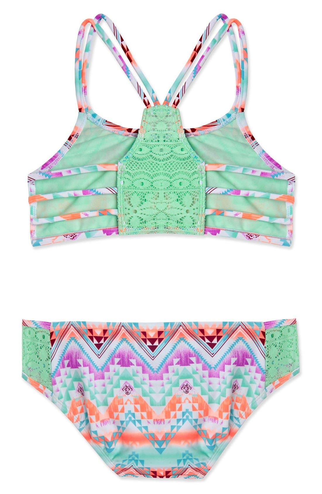 Alternate Image 3  - Gossip Girl 'Desert Mirage' Print Two-Piece Swimsuit (Big Girls)