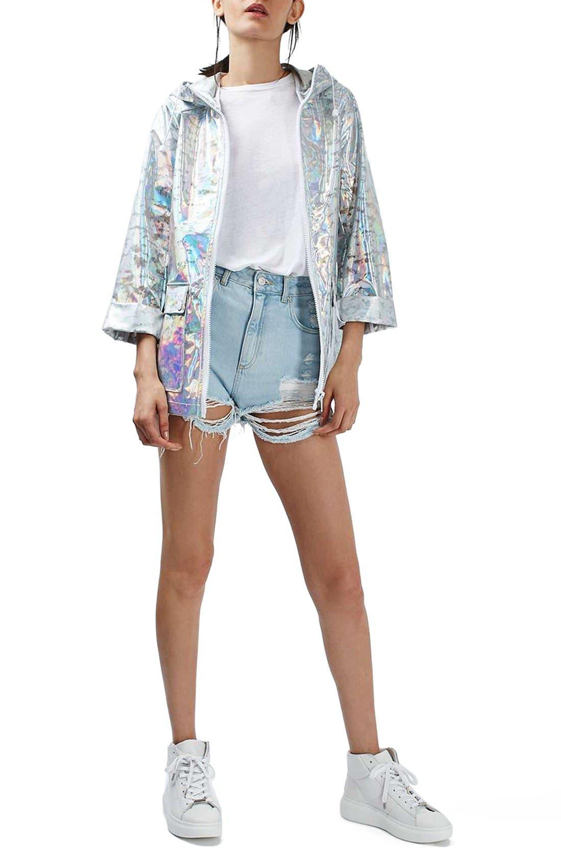 Main Image - Topshop Holographic Rain Jacket (Regular & Petite)