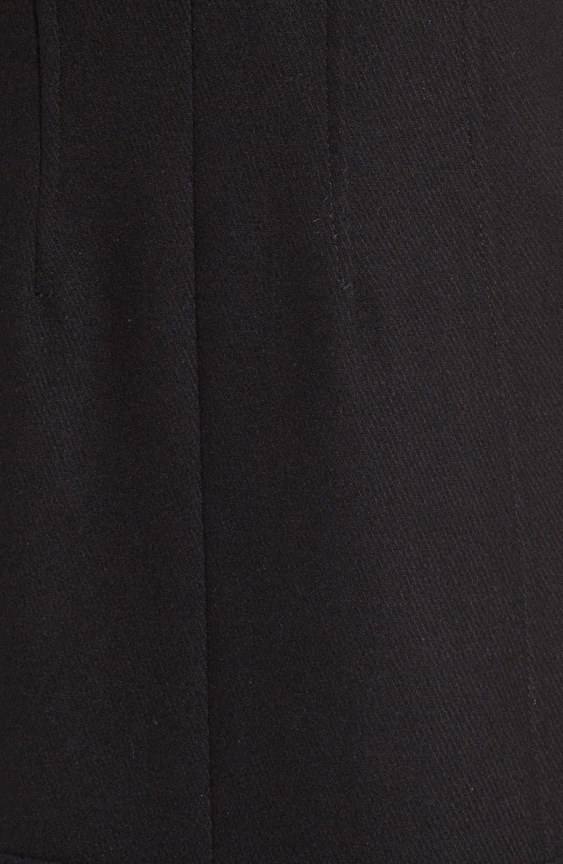 Bouclé Sleeve Wool Blend Military Coat,                             Alternate thumbnail 5, color,                             Black