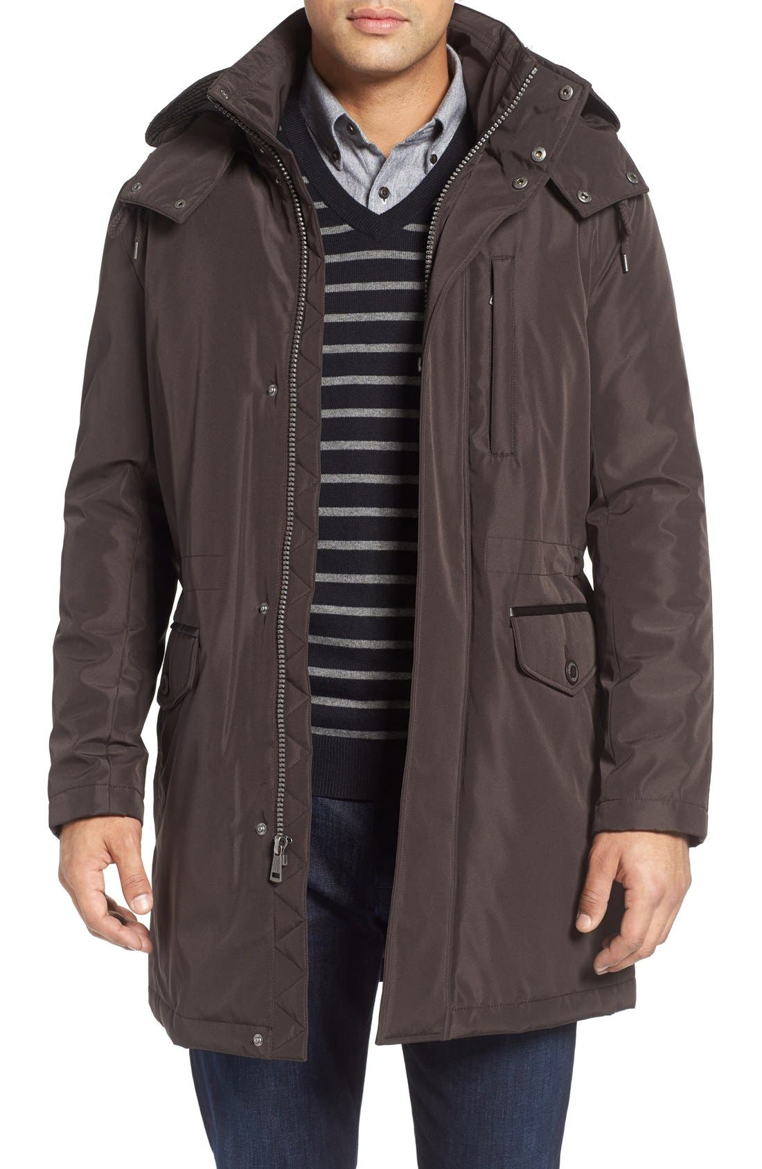 Insulated Water Resistant Car Coat,                         Main,                         color, Brown