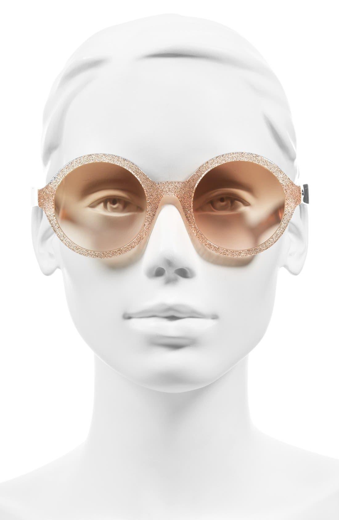 'khriss' 52mm round sunglasses,                             Alternate thumbnail 2, color,                             Pink/ Gold Glitter