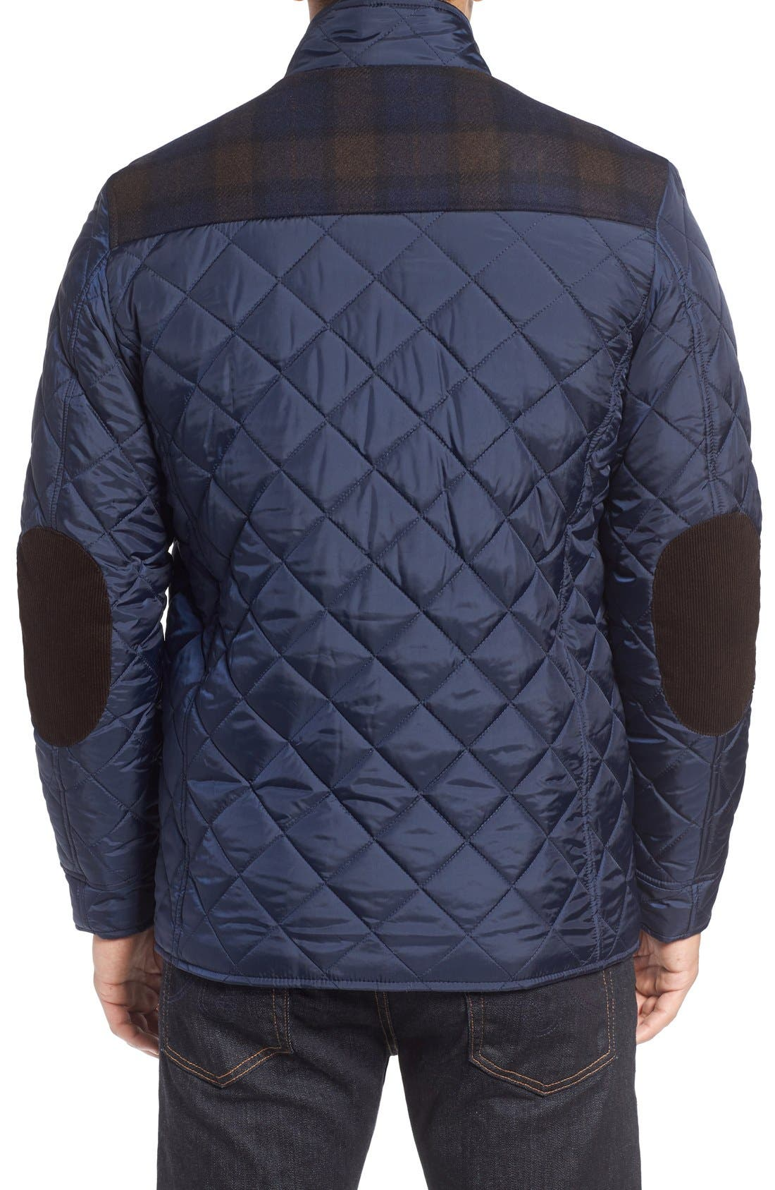 Mixed Media Quilted Jacket,                             Alternate thumbnail 2, color,                             Navy