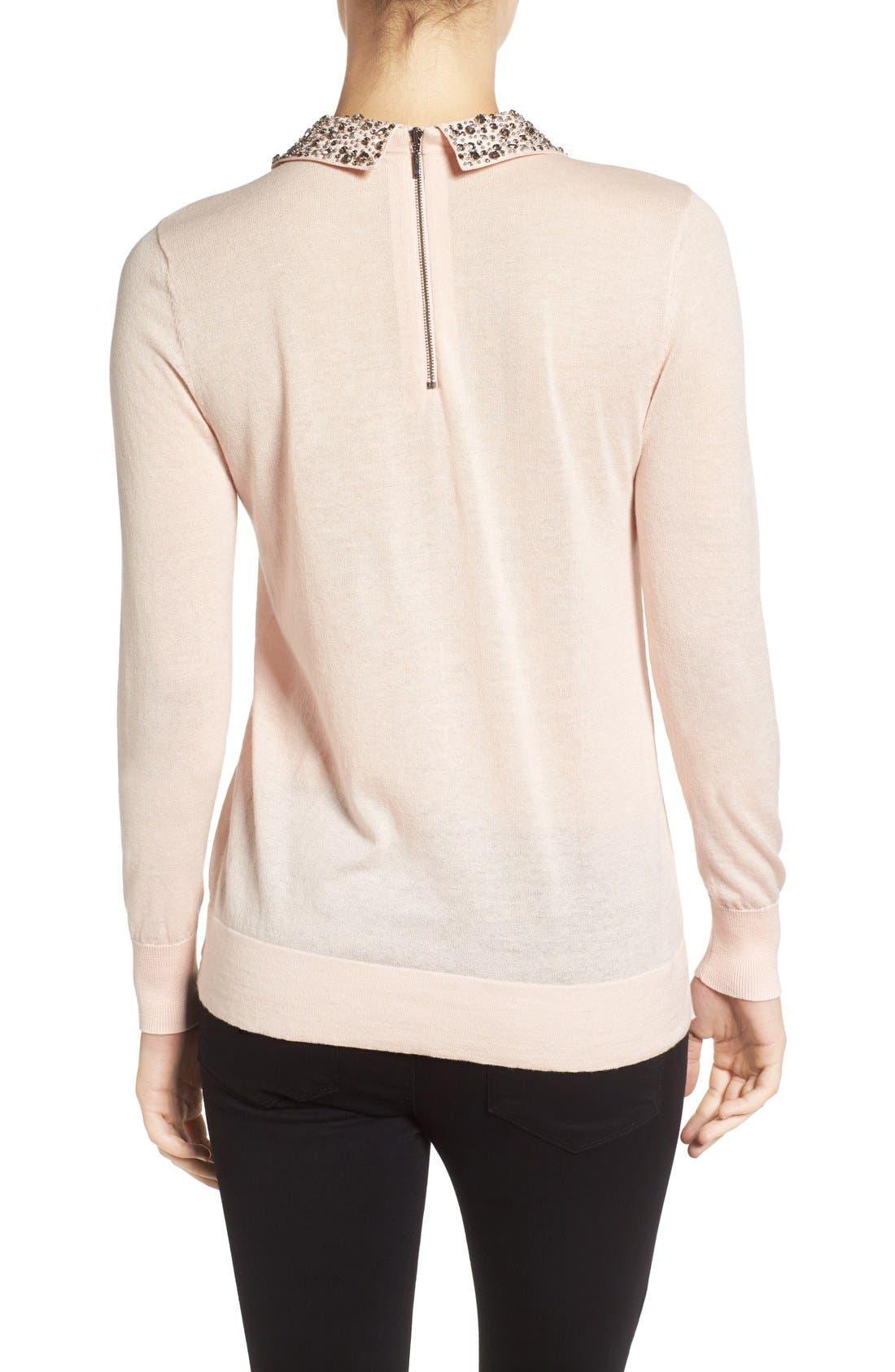 Alternate Image 2  - Halogen® Embellished Collar Sweater (Regular & Petite)