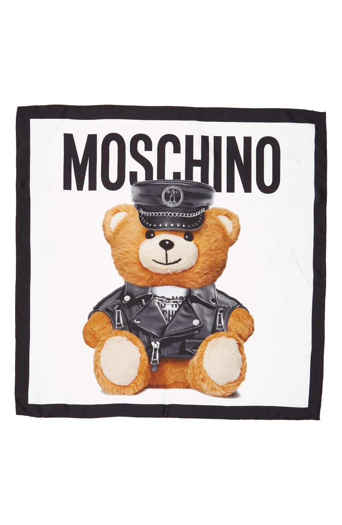 MOSCHINO Bear Square Silk Scarf