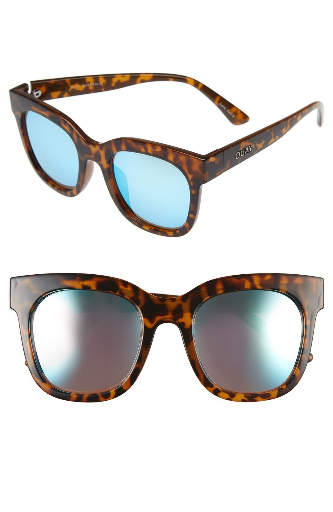 'Sagano' 50mm Square Sunglasses,                             Main thumbnail 1, color,                             Tortoise/ Blue