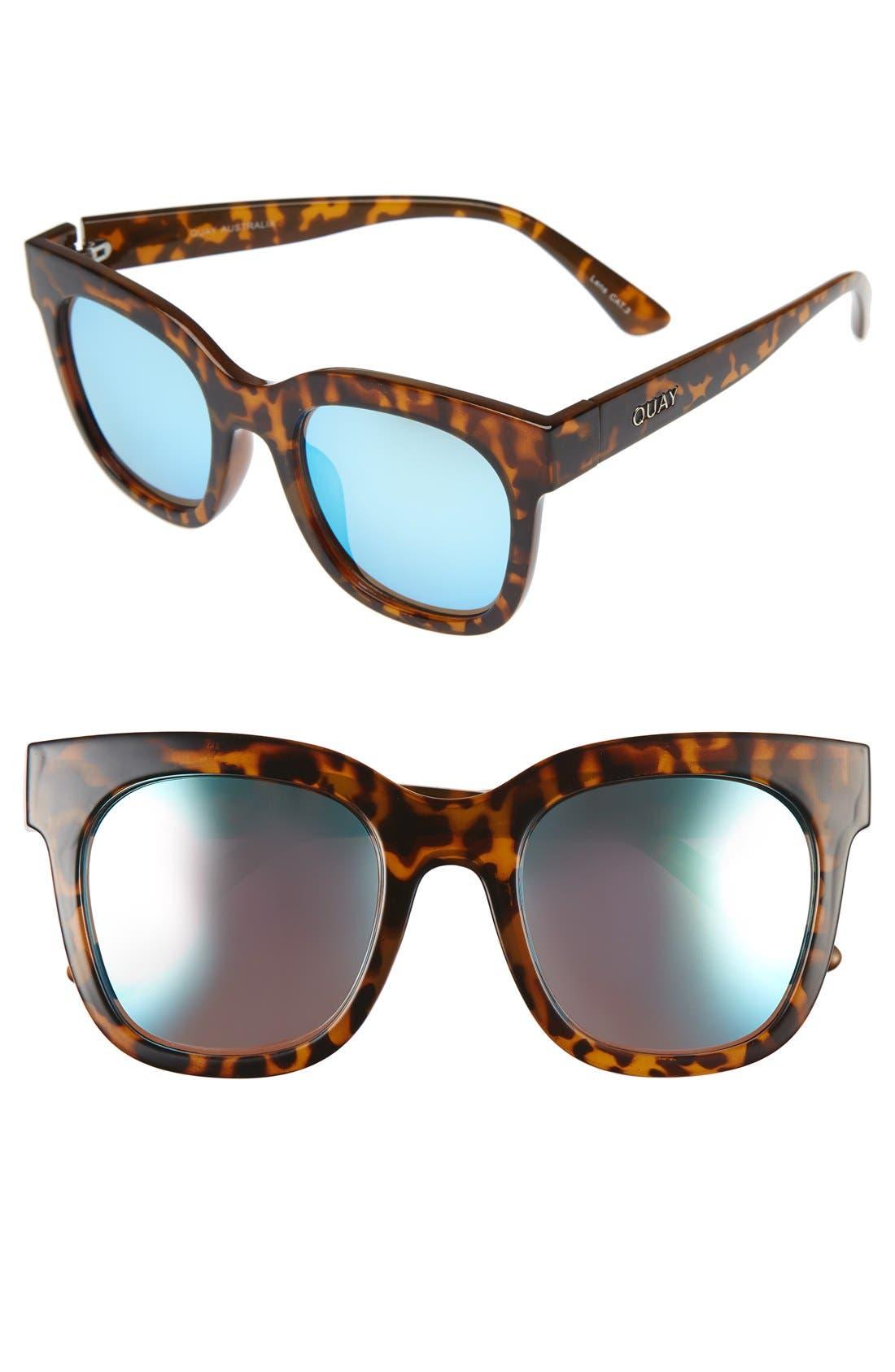 'Sagano' 50mm Square Sunglasses,                         Main,                         color, Tortoise/ Blue