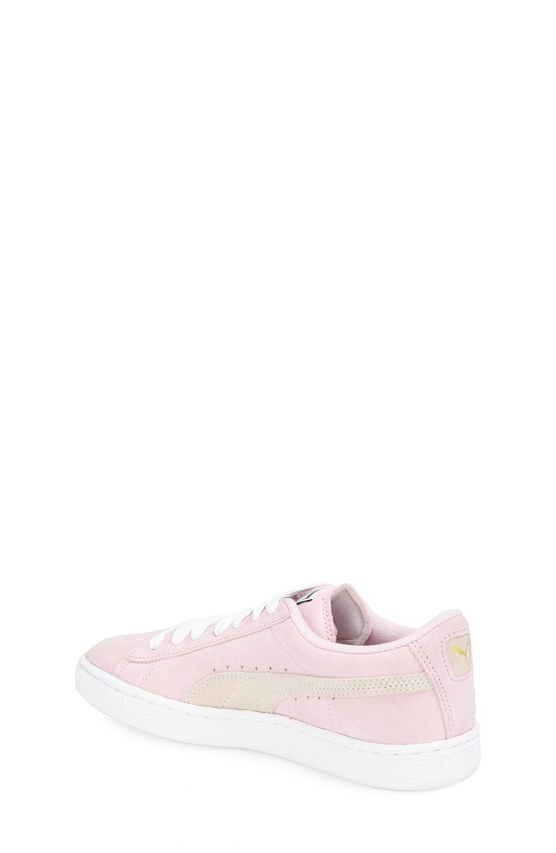 'Suede Jr.' Sneaker,                             Alternate thumbnail 2, color,                             Pink Lady/ White/ Team Gold
