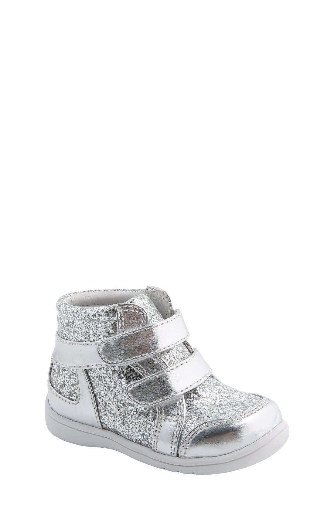 Nina 'Stardust' Metallic High Top Sneaker,                             Main thumbnail 1, color,                             Silver Metallic