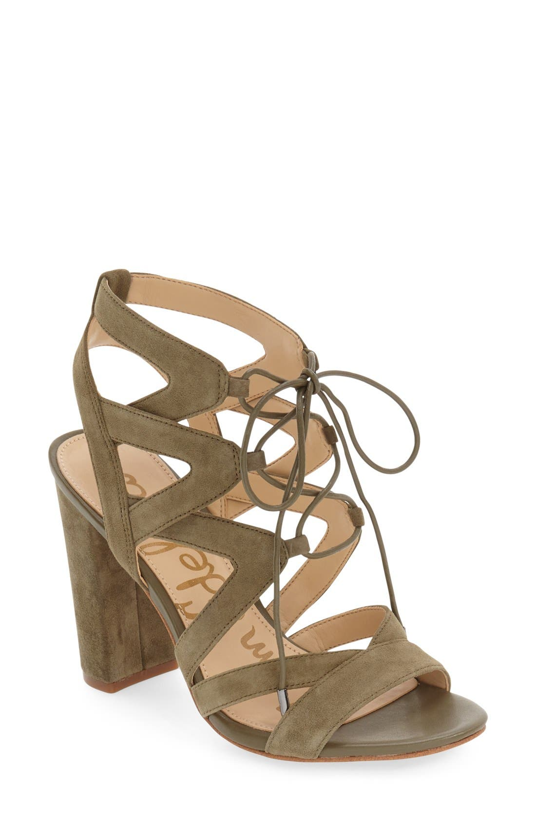 'Yardley' Lace-Up Sandal,                         Main,                         color, Moss Green Suede Leather