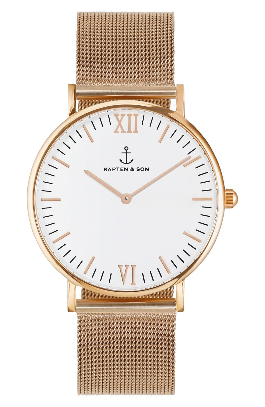 Campus Mesh Strap Watch, 40mm,                         Main,                         color, Rosegold/ White