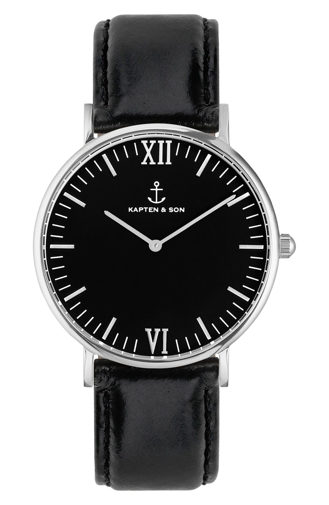 Campus Leather Strap Watch, 40mm,                         Main,                         color, Black/ Silver