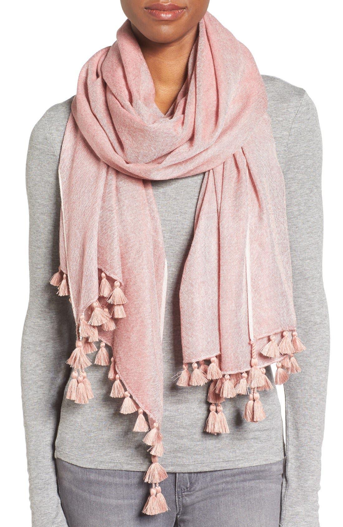 Alternate Image 1 Selected - Eileen Fisher Tassel Trim Wool & Silk Scarf
