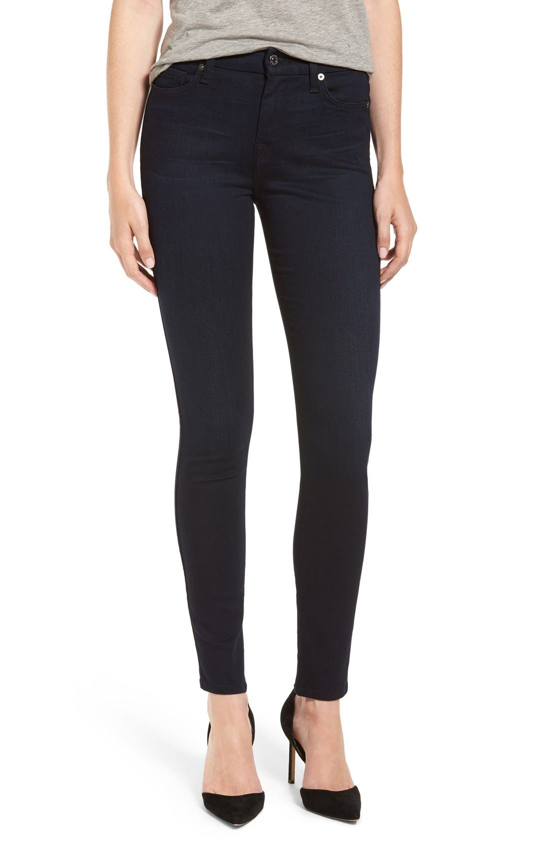 Main Image - 7 For All Mankind b(air) High Waist Skinny Jeans (Blue/Black River Thames)