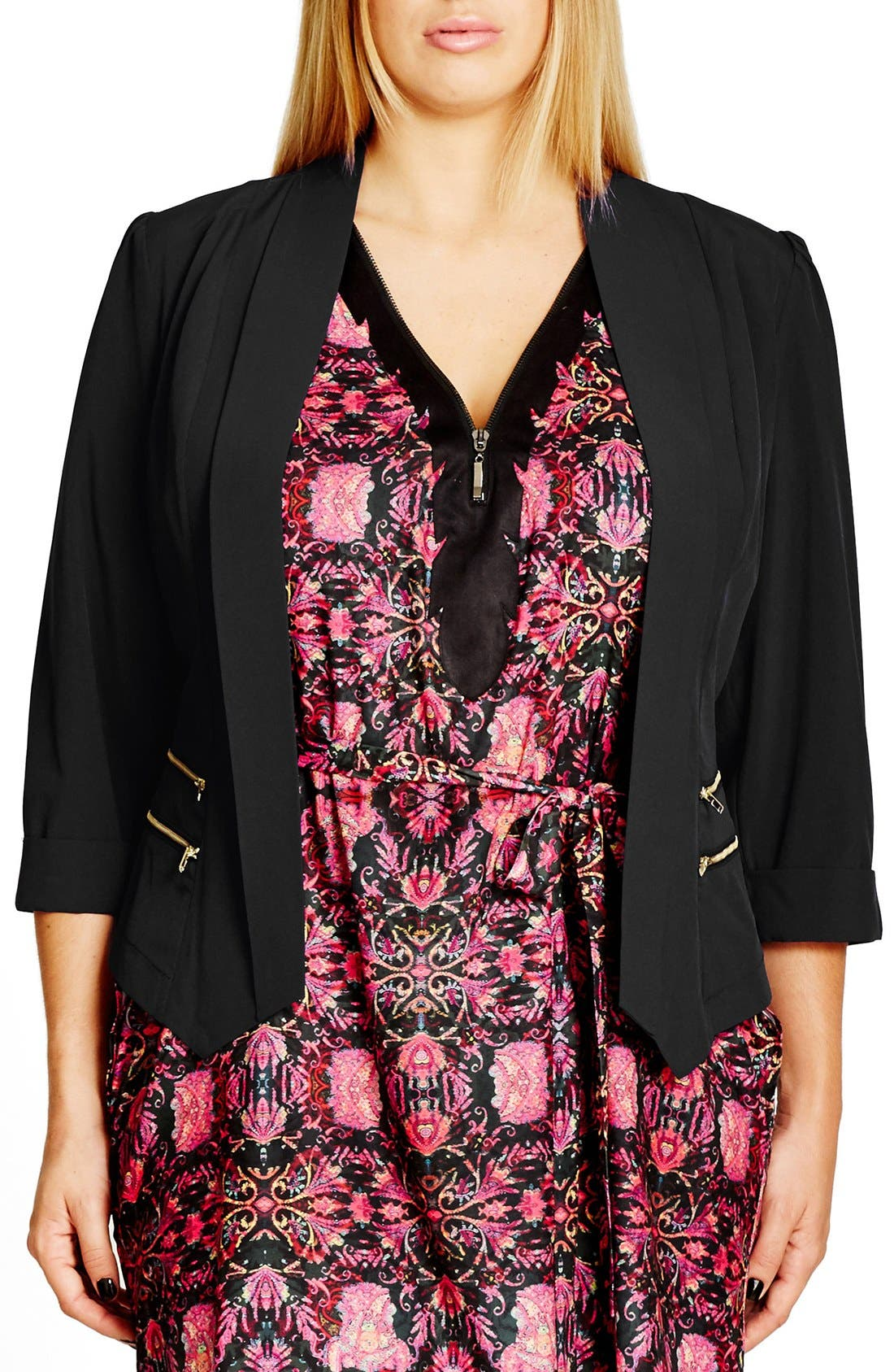 Main Image - City Chic Double Zip Jacket (Plus Size)