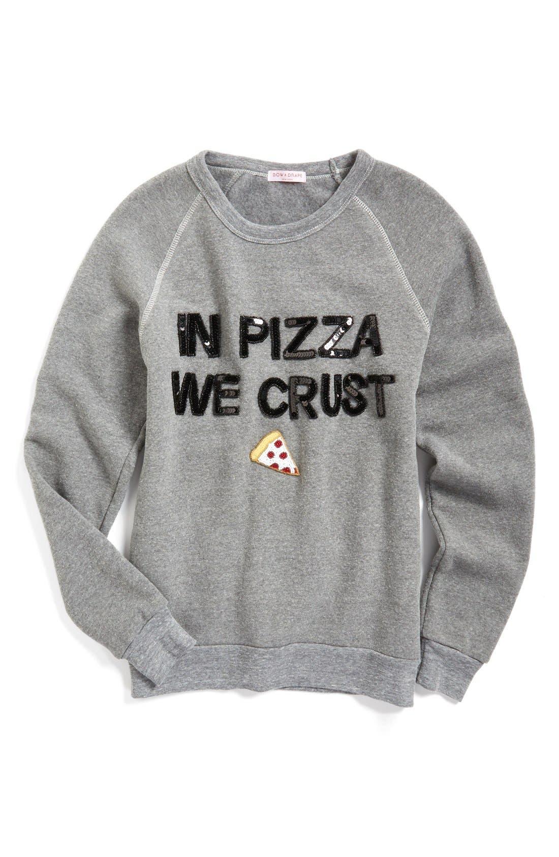 Alternate Image 1 Selected - Bow & Drape In Pizza We Crust Sweatshirt