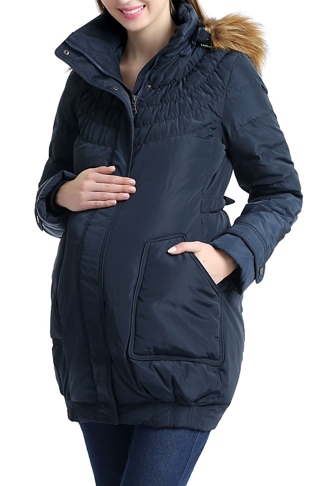 'Arlo' Water Resistant Down Maternity Parka with Baby Carrier Cover Inset,                             Alternate thumbnail 3, color,                             Navy