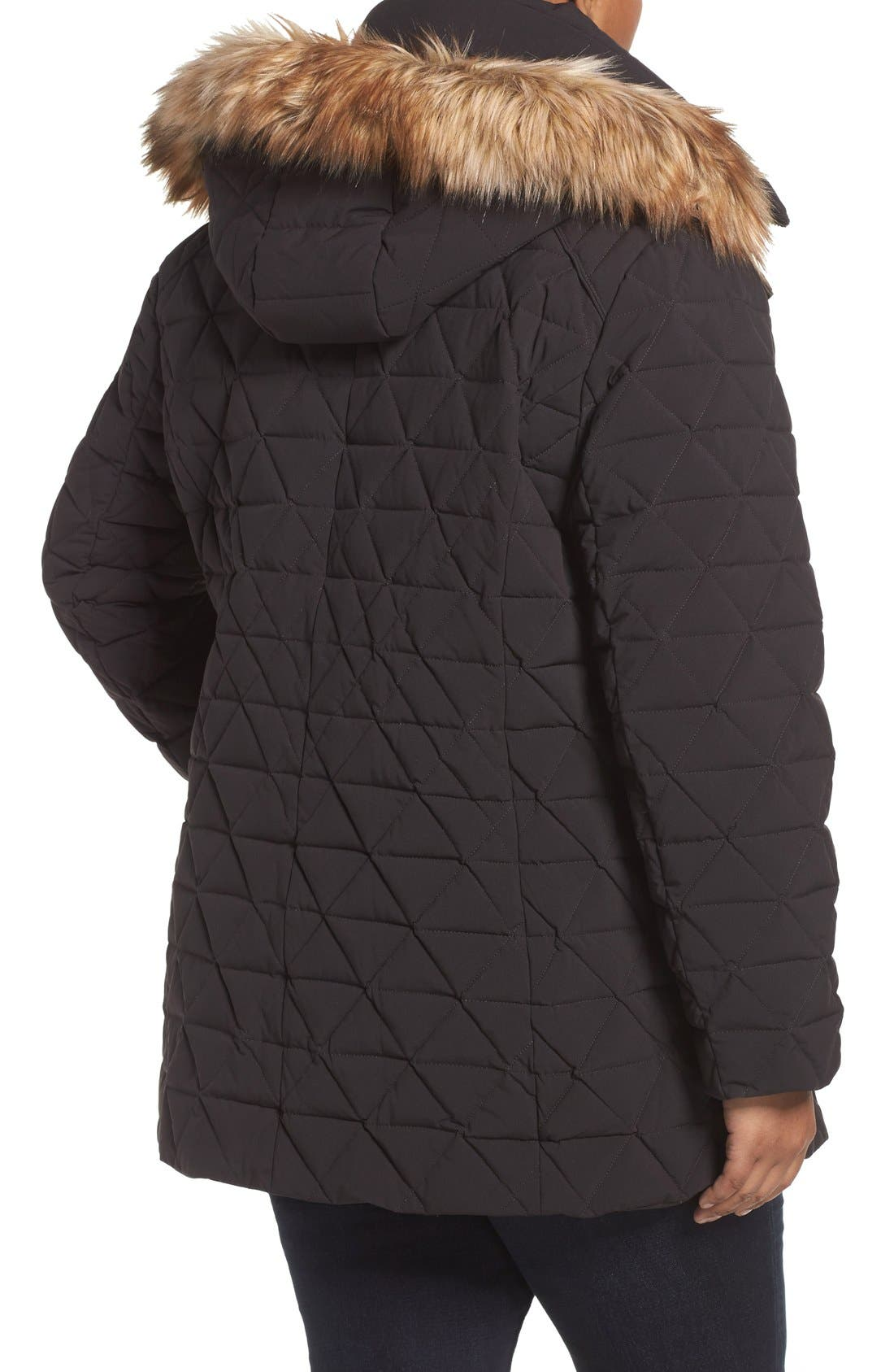 Alternate Image 2  - Andrew Marc Down Jacket with Faux Fur Trim Hood (Plus Size)