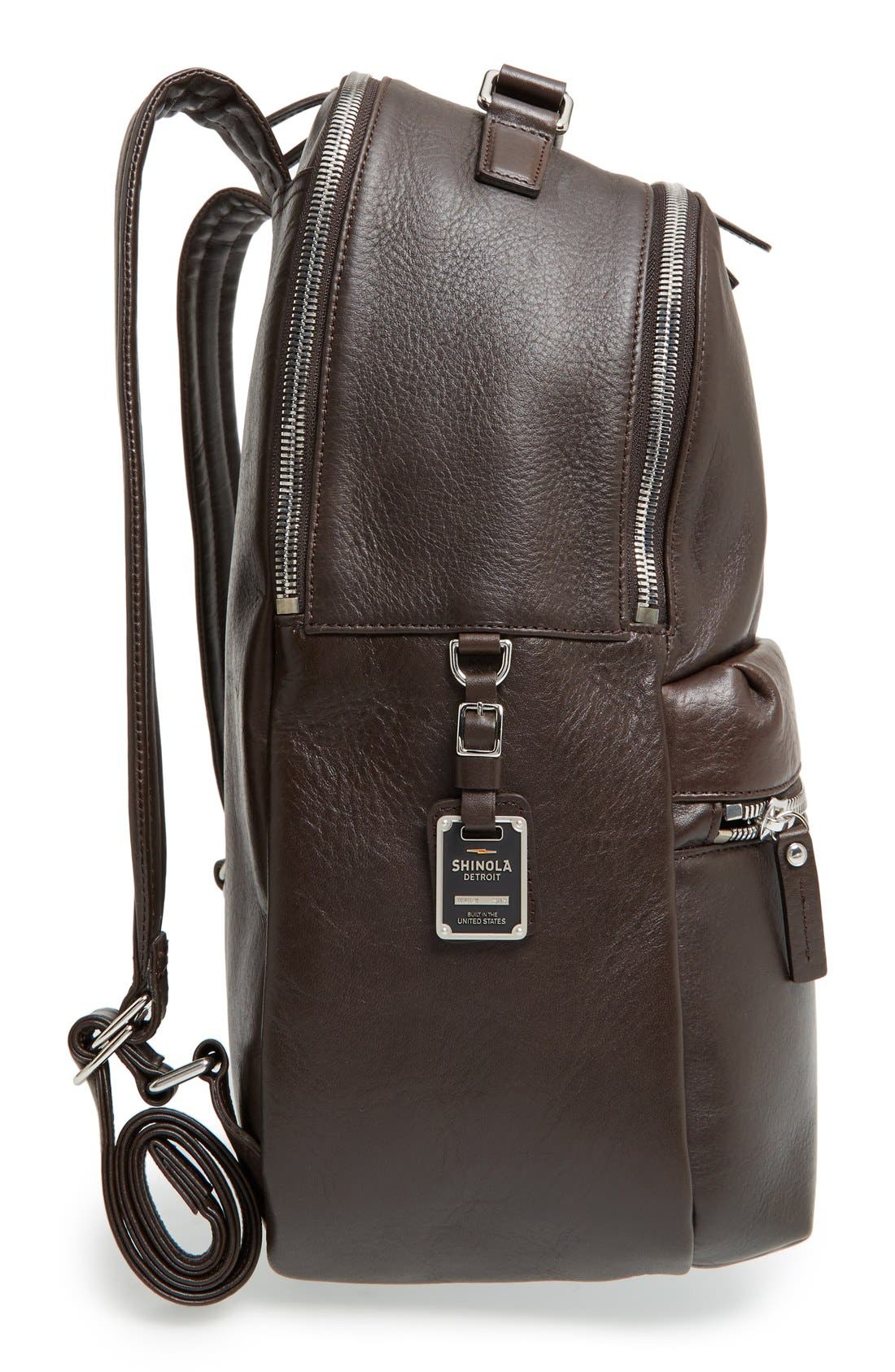 Alternate Image 5  - Shinola Runwell Leather Laptop Backpack