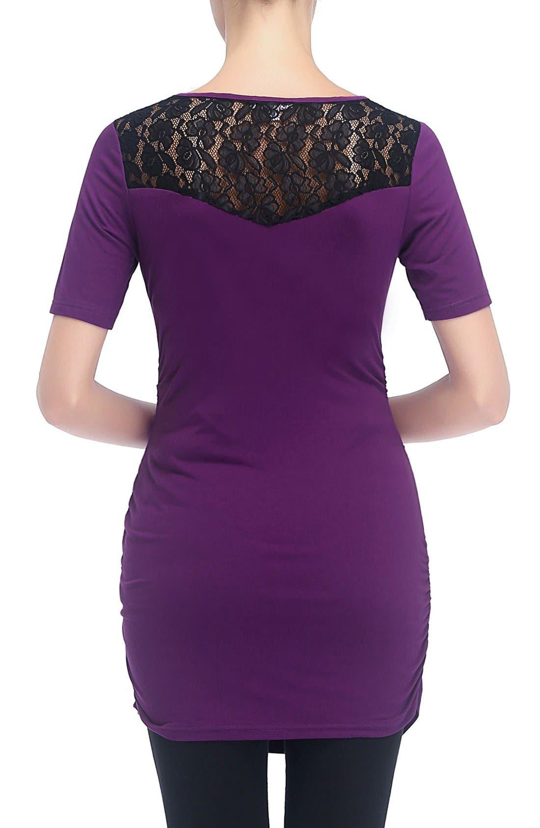 'Alden' Floral Lace Jersey Maternity Top,                             Alternate thumbnail 3, color,                             Purple