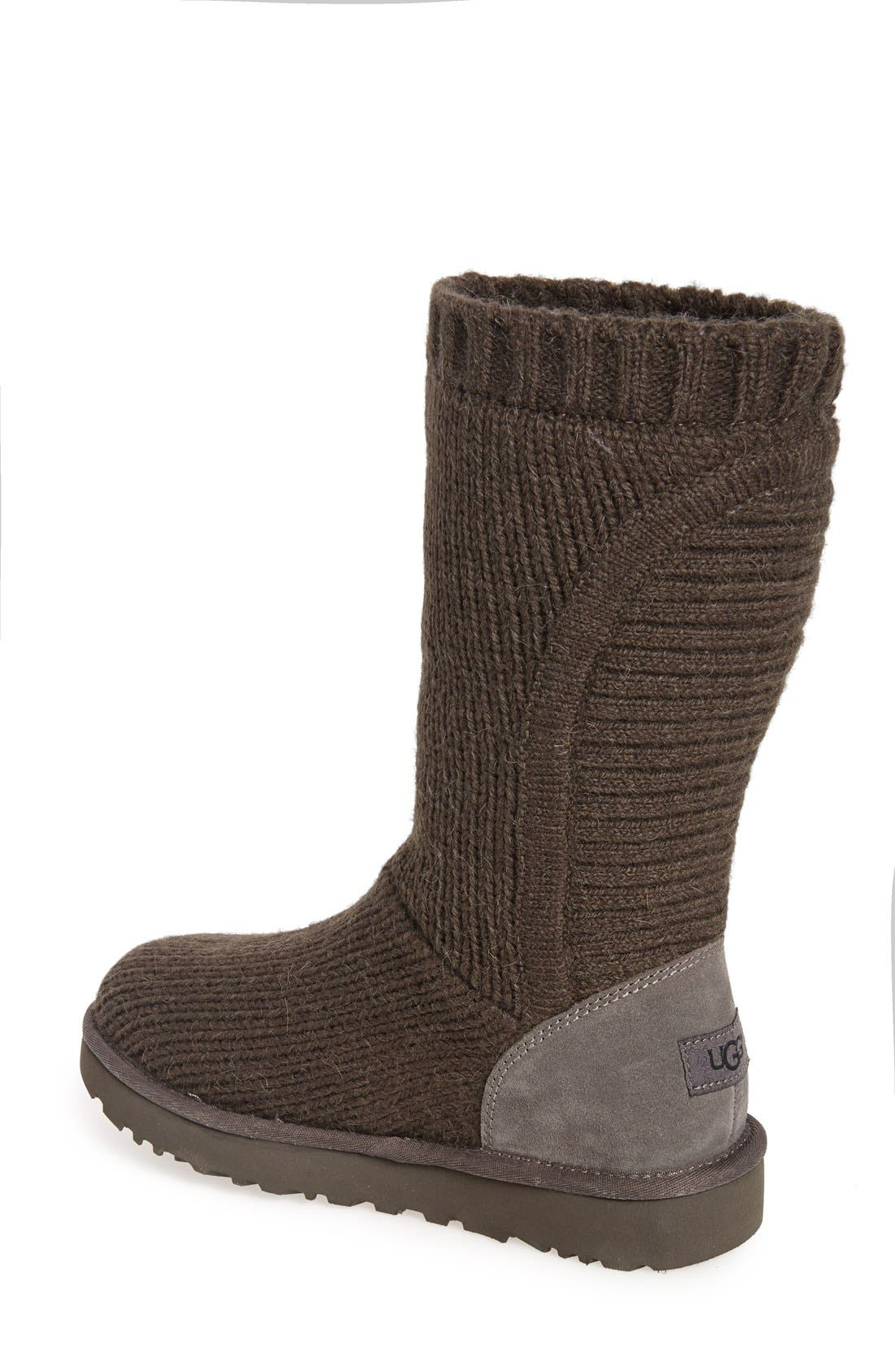 'Capra' Ribbed Knit Genuine Shearling Lined Boot,                             Alternate thumbnail 2, color,                             Grey Fabric