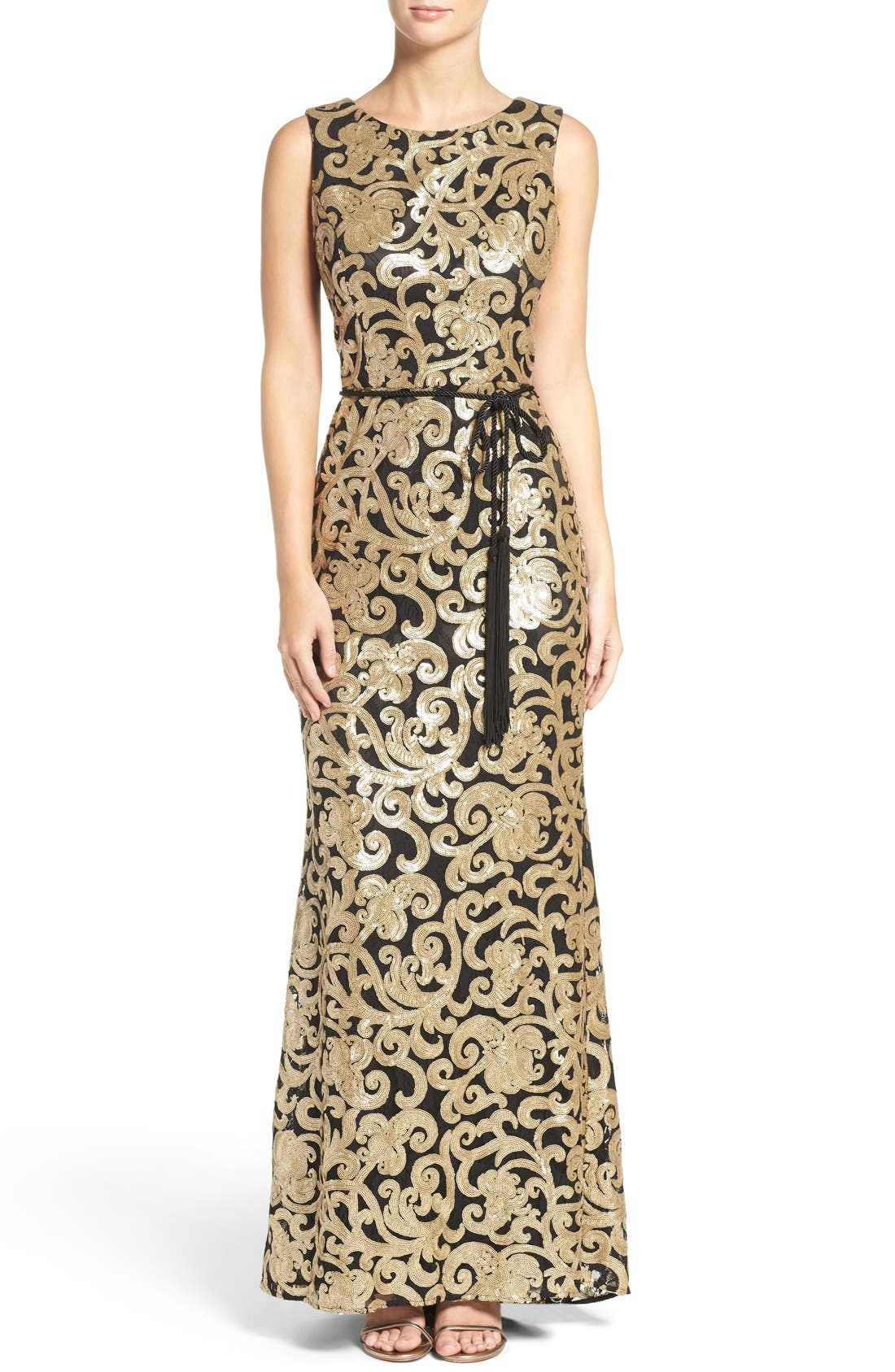Main Image - Vince Camuto Belted Sequin Gown