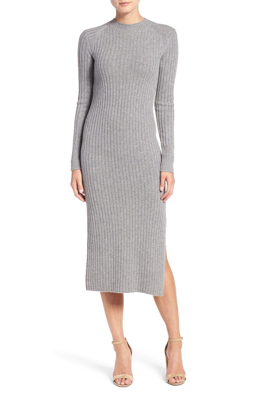 Reign Merino Wool & Cashmere Sweater Midi Dress,                         Main,                         color, Medium Heather Grey