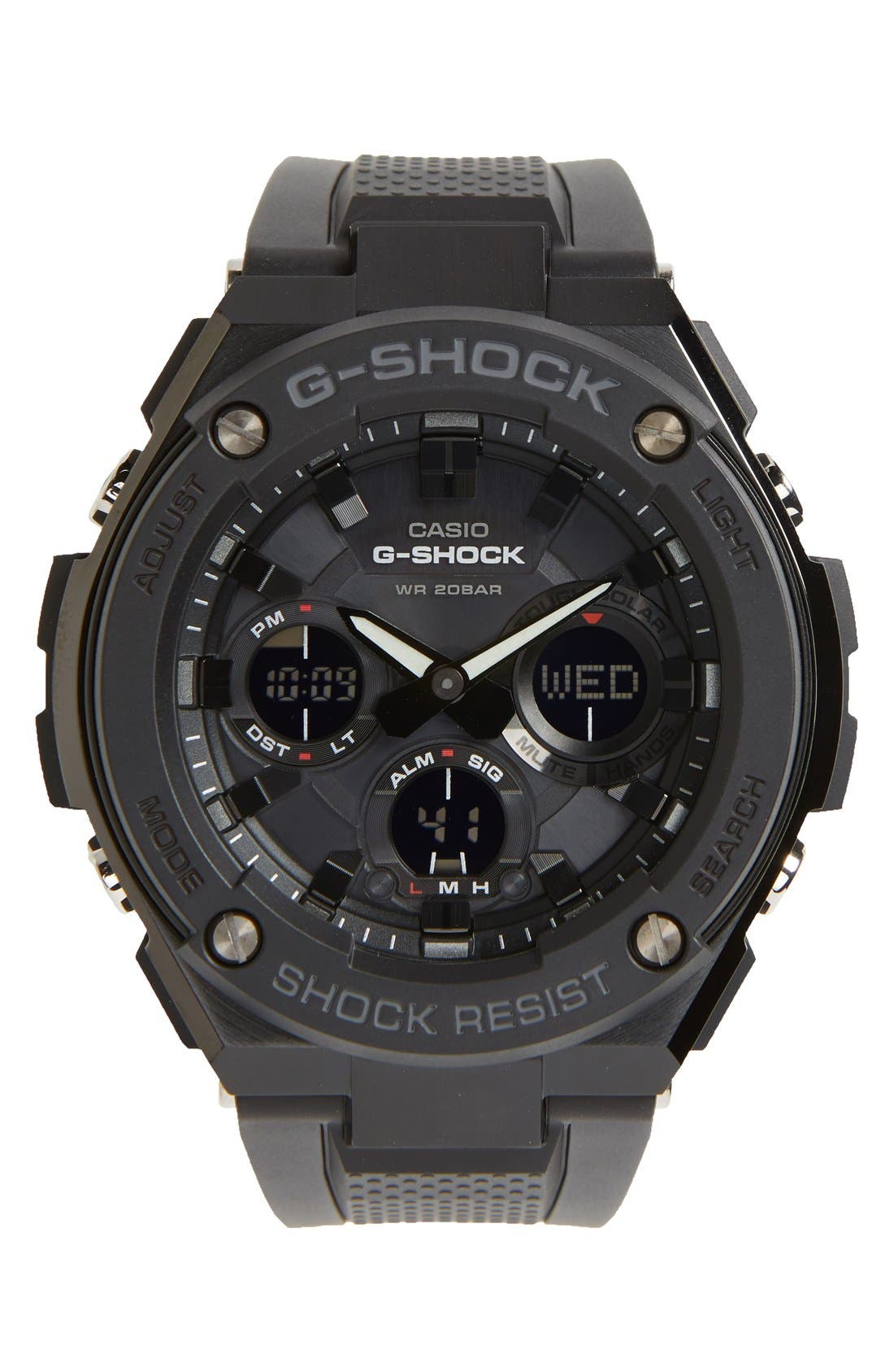 G-Shock Ana-Digi Solar Watch, 46mm,                         Main,                         color, Black