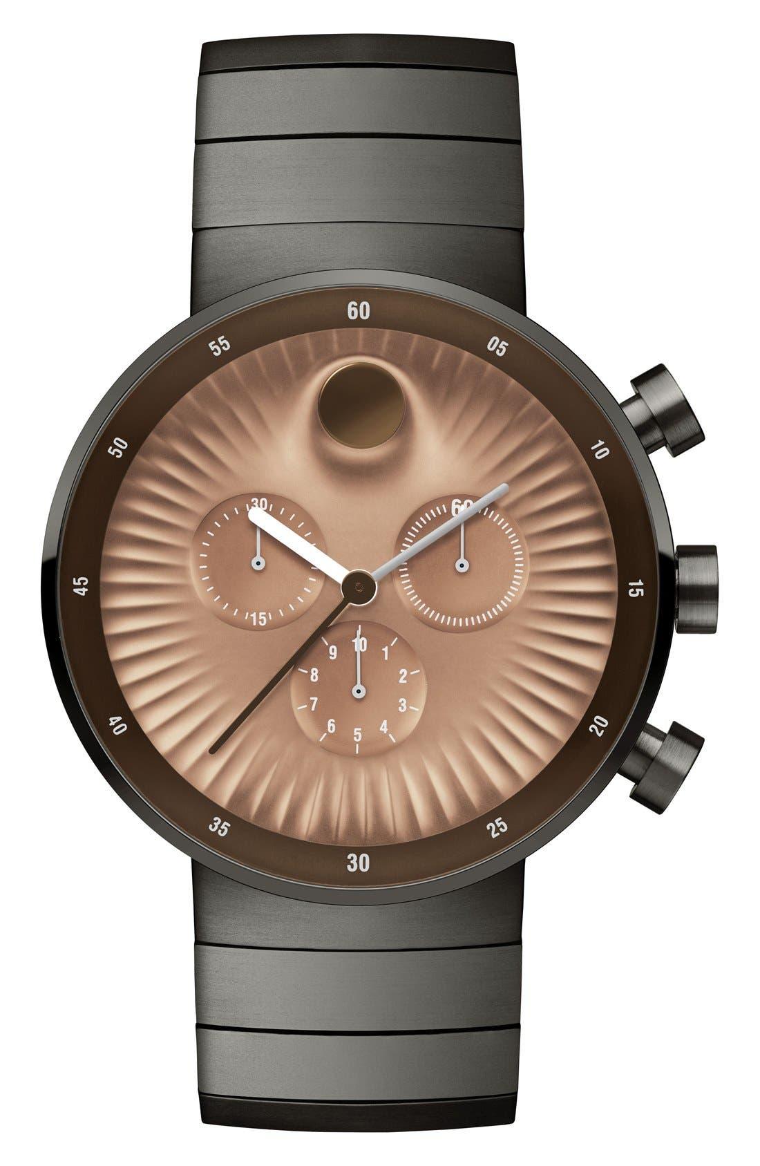 'Edge' Chronograph Bracelet Watch, 40mm,                         Main,                         color, Grey/ Copper