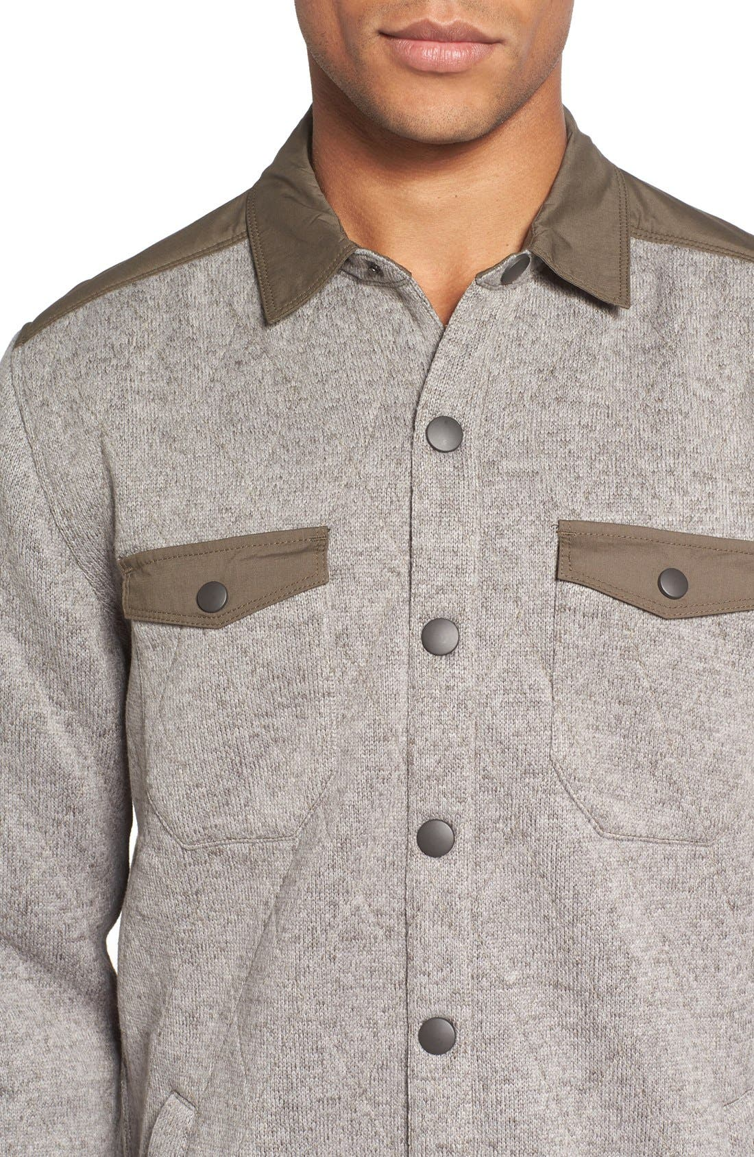 Quilted Fleece Shirt Jacket,                             Alternate thumbnail 4, color,                             Mule