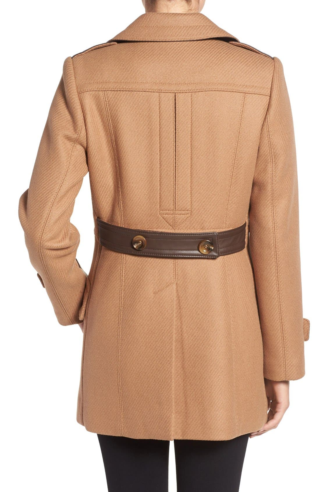'Chloe' Wool Blend Peacoat,                             Alternate thumbnail 2, color,                             Camel
