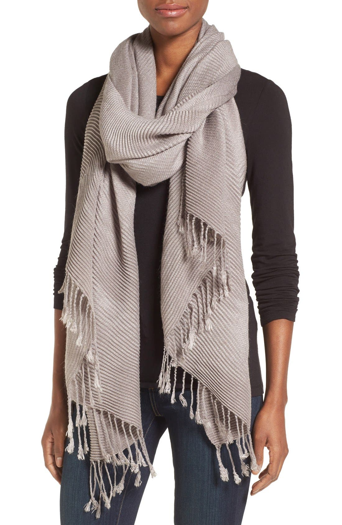 Fringe Textured Wrap,                             Alternate thumbnail 4, color,                             Grey Gull