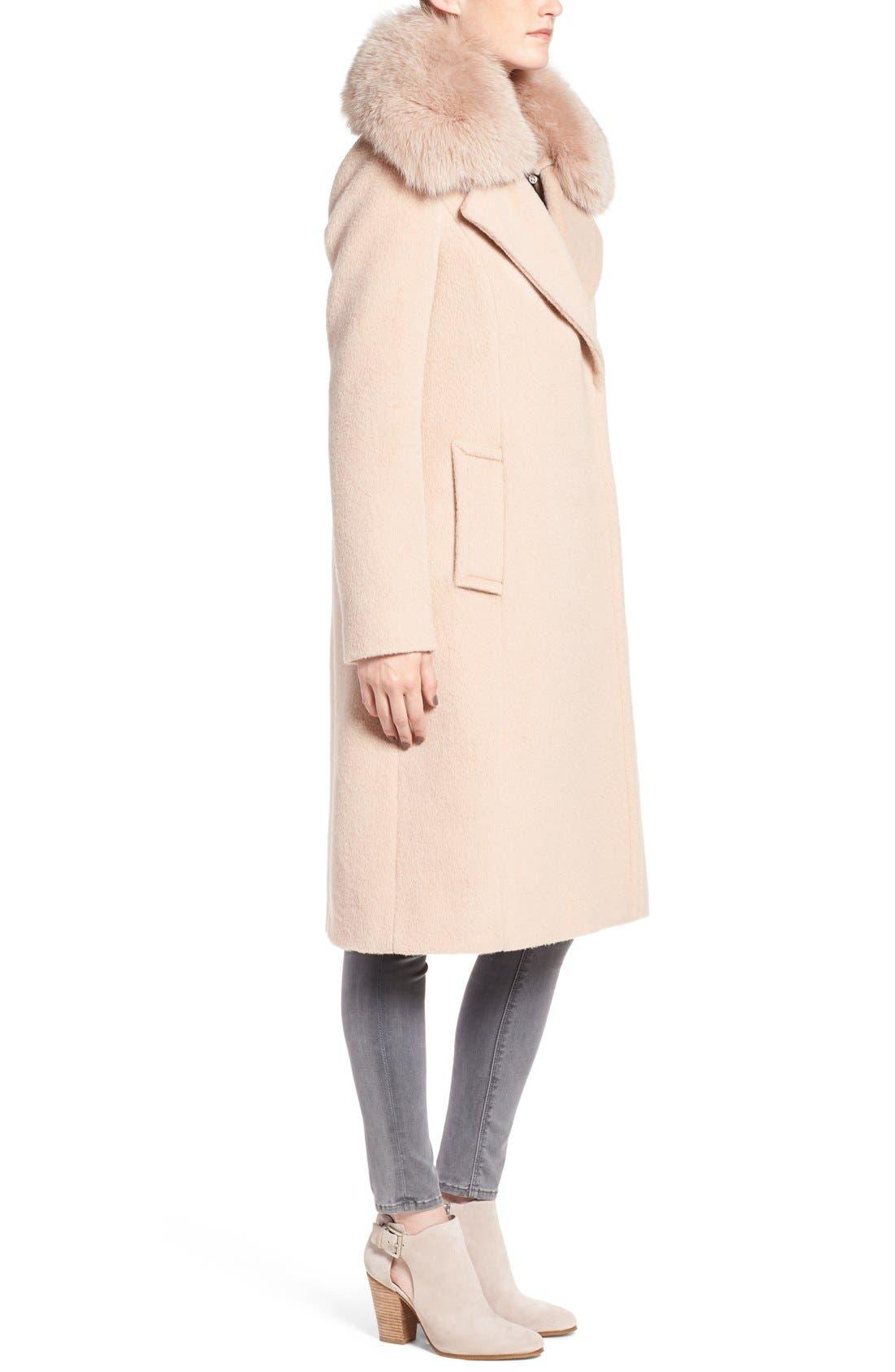 Alternate Image 3  - Diane von Furstenberg Genuine Fox Fur Trim Notch Collar Long Wool Blend Coat