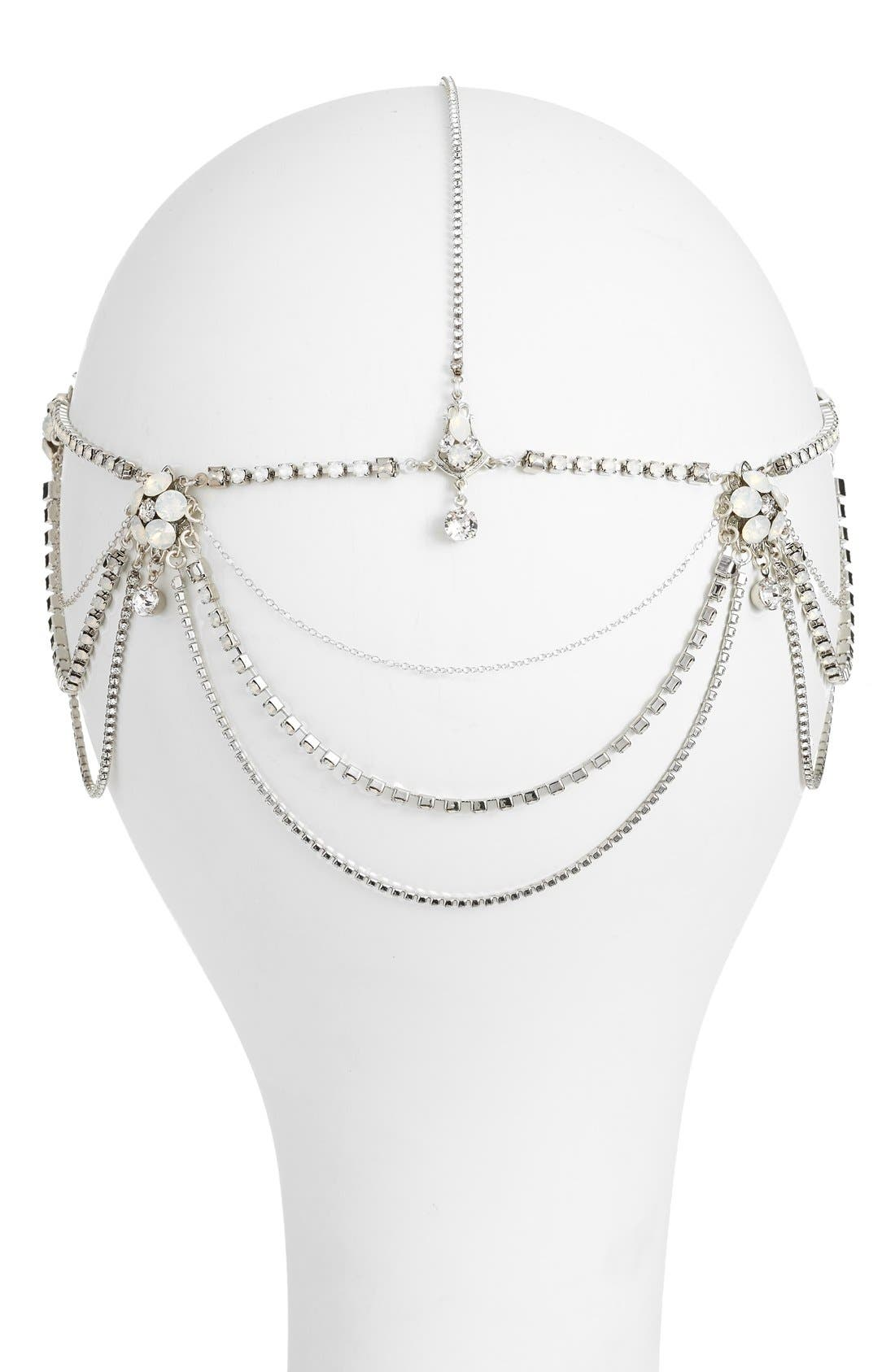 'Madeline' Floral Crystal Hair Chain,                             Alternate thumbnail 5, color,                             Crystal/ White Opal