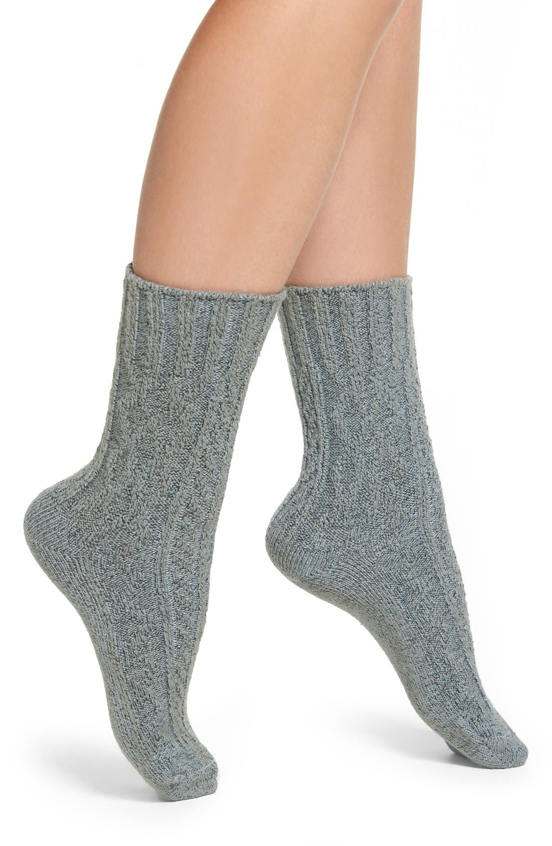 Marled Cable Crew Socks,                         Main,                         color, Charcoal