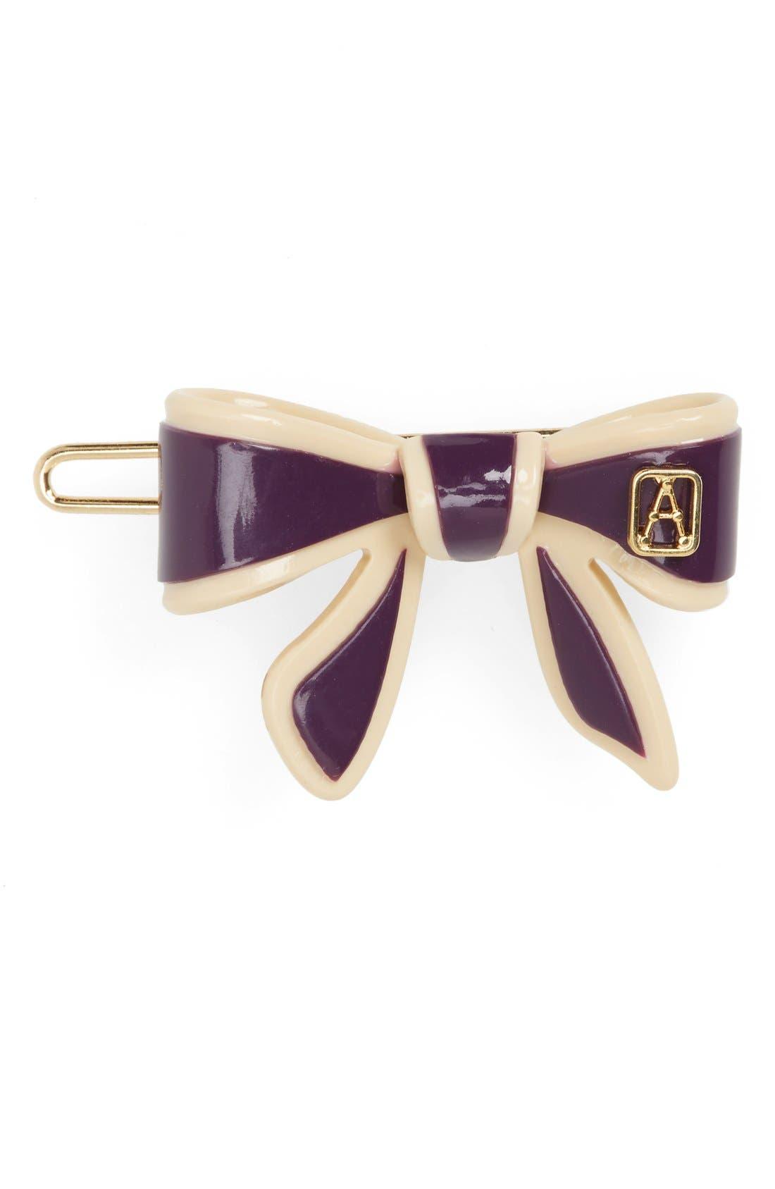 'Mini Tenderly' Bow Barrette,                         Main,                         color, Purple