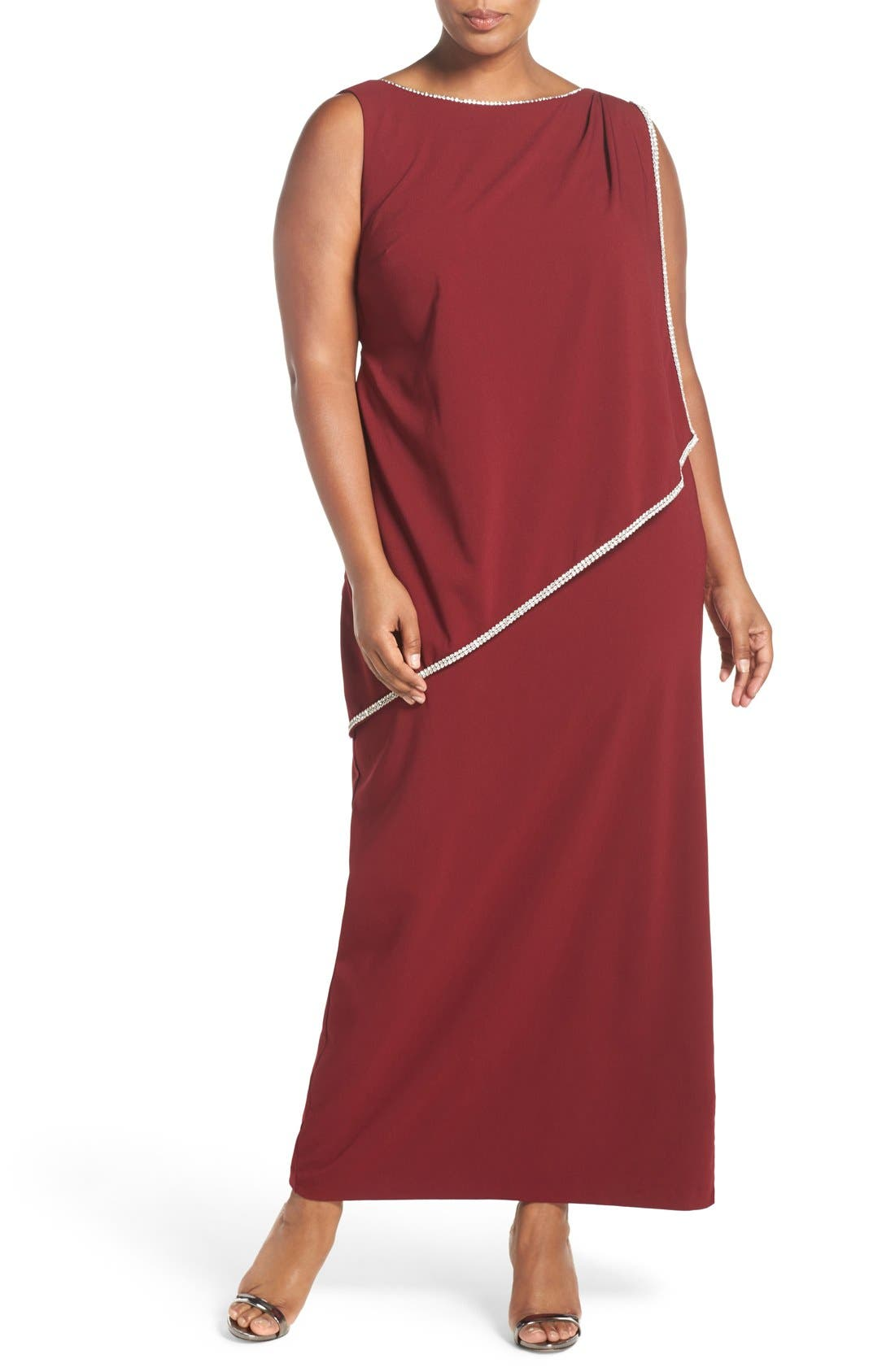 Embellished Overlay Sleeveless Crepe Column Gown,                             Main thumbnail 1, color,                             Merlot