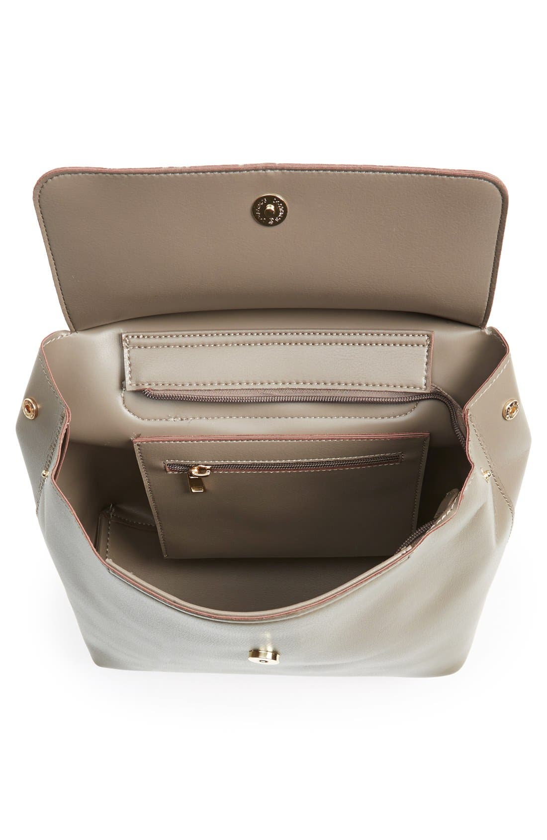 'Minimal Flap' Faux Leather Backpack,                             Alternate thumbnail 5, color,                             Taupe