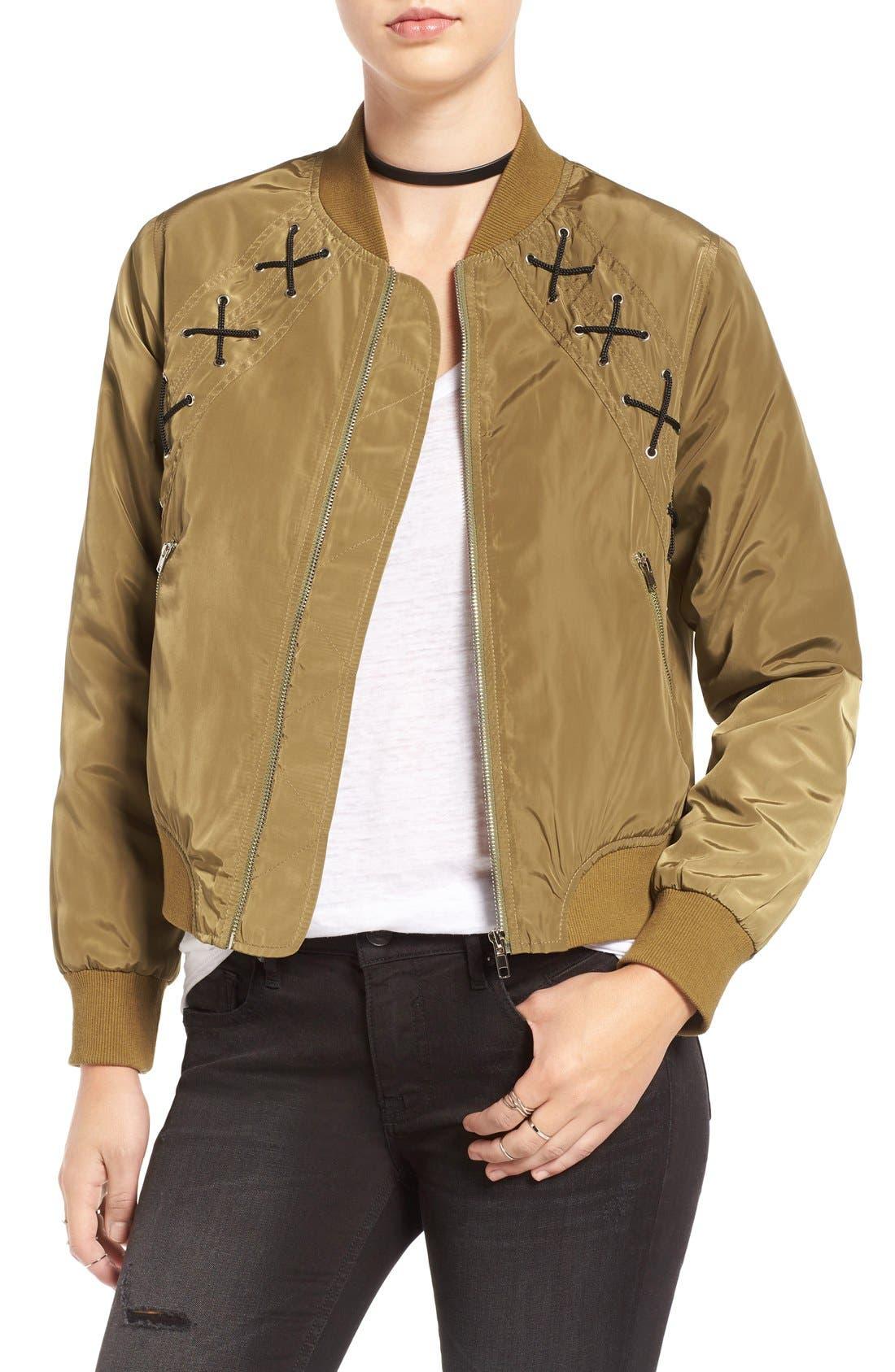 Alternate Image 1 Selected - Elodie Cross Stitch Bomber Jacket