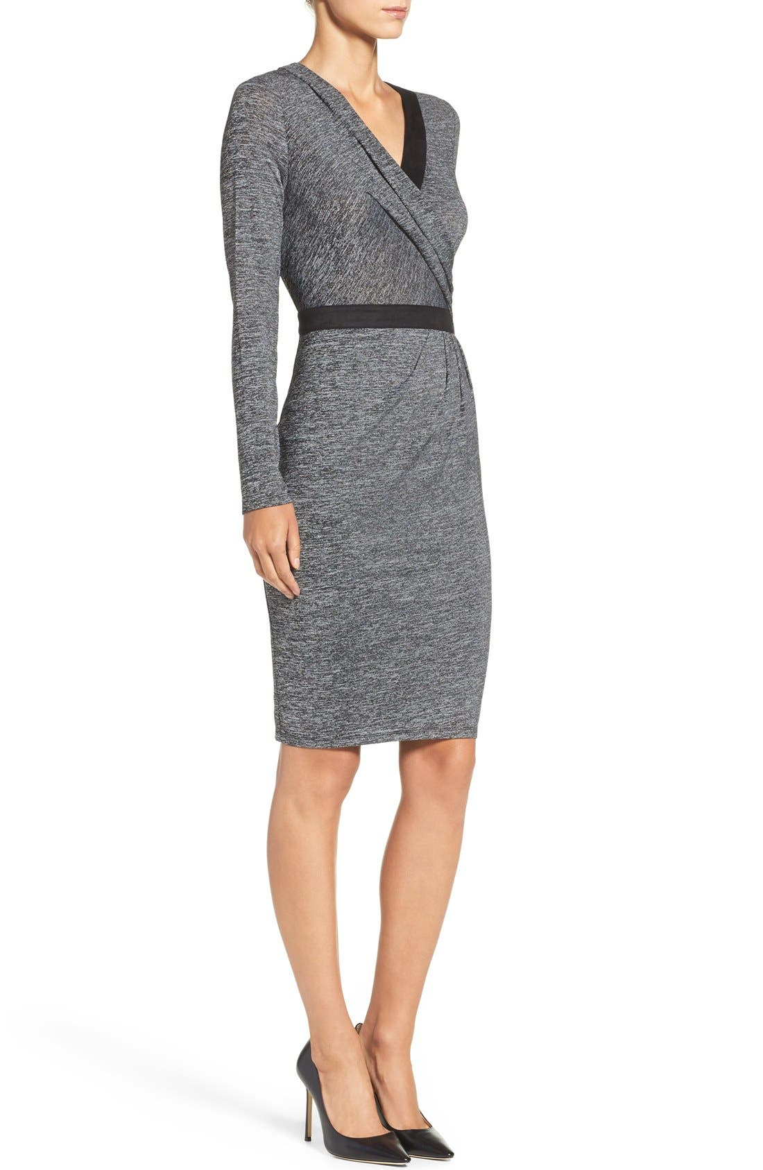 Knit Faux Wrap Dress,                             Alternate thumbnail 3, color,                             Heather/ Black
