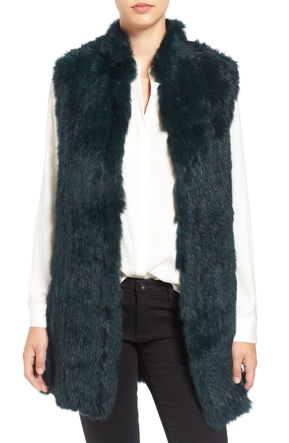 Main Image - Love Token Genuine Rabbit Fur & Knit Vest (Nordstrom Exclusive)