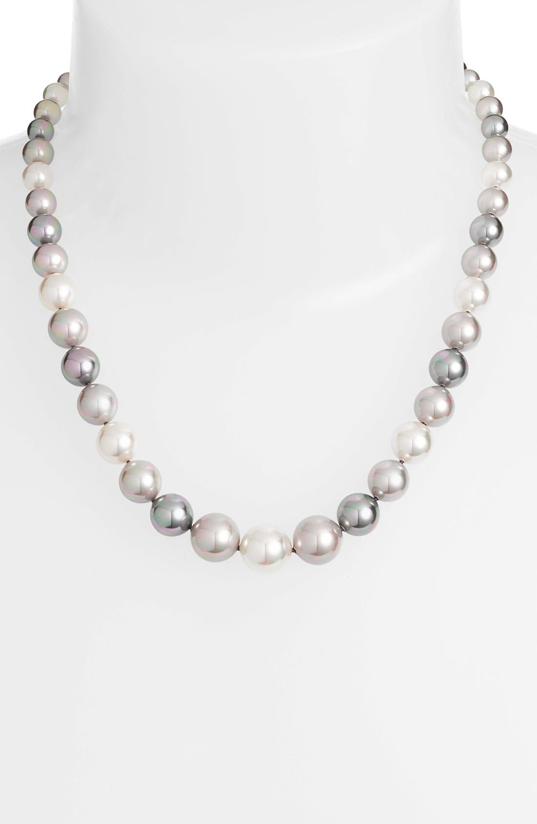 Graduated Round Simulated Pearl Necklace,                         Main,                         color, Grey Multi