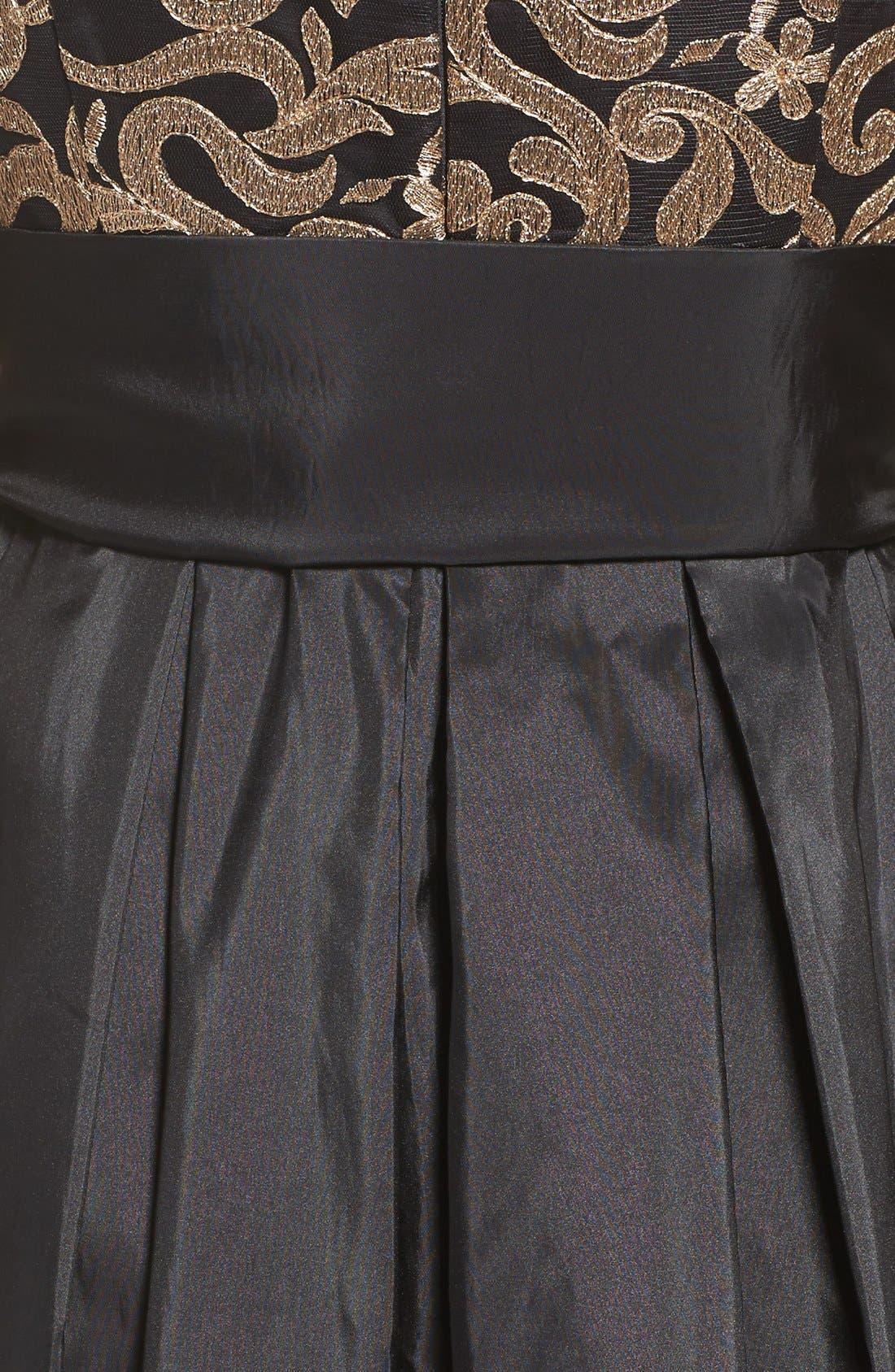 Alternate Image 5  - Eliza J Embroidered Mesh & Taffeta Gown (Regular & Petite)
