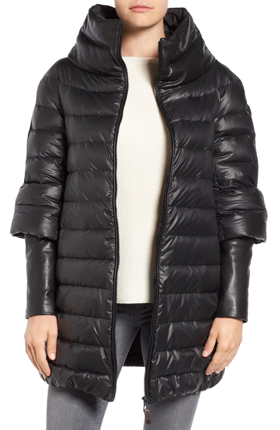 Alternate Image 1 Selected - Rudsak Leather Trim Down Puffer Coat