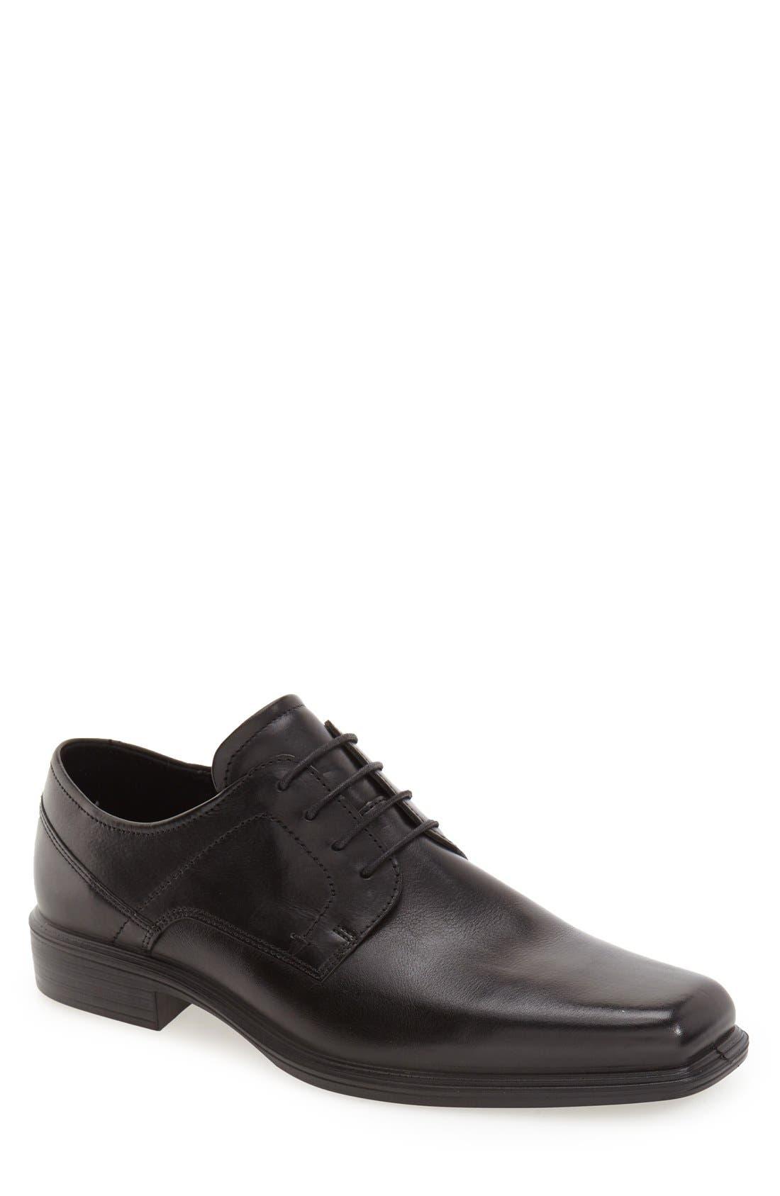 'Johannesburg' Plain Toe Derby,                             Main thumbnail 1, color,                             Black Leather