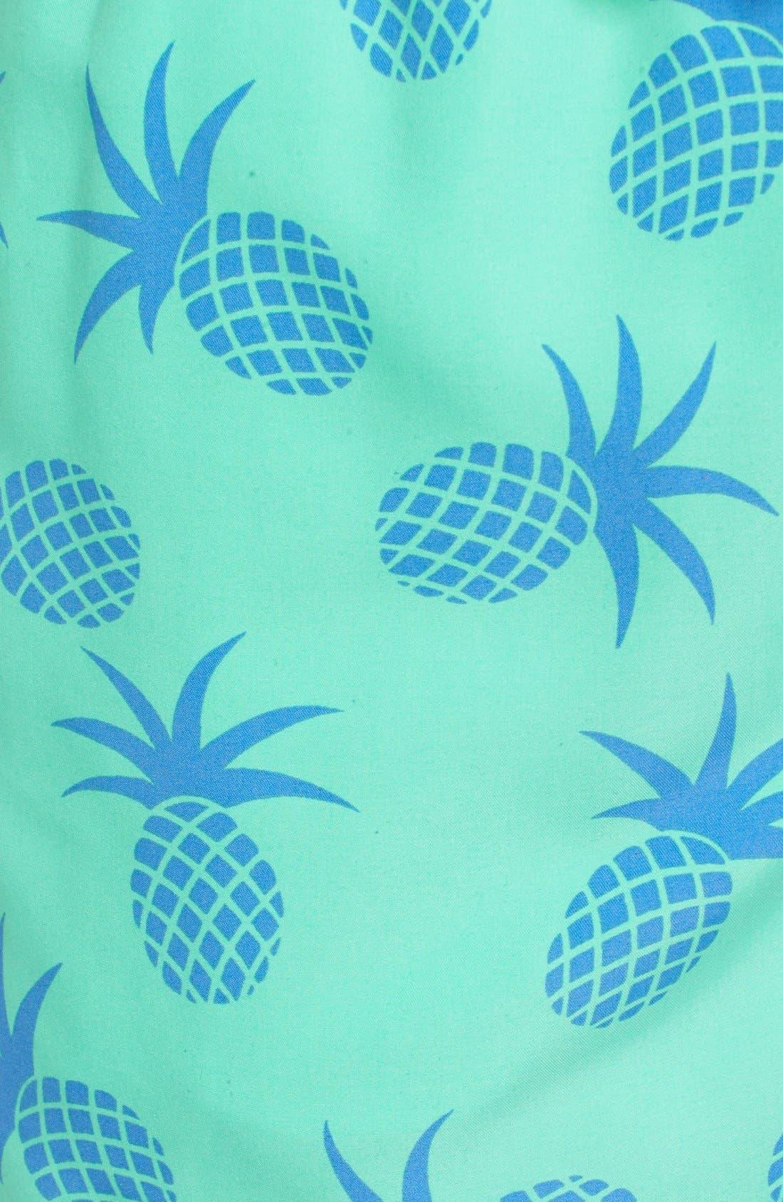 Pineapple Print Swim Trunks,                             Alternate thumbnail 5, color,                             Jade Green