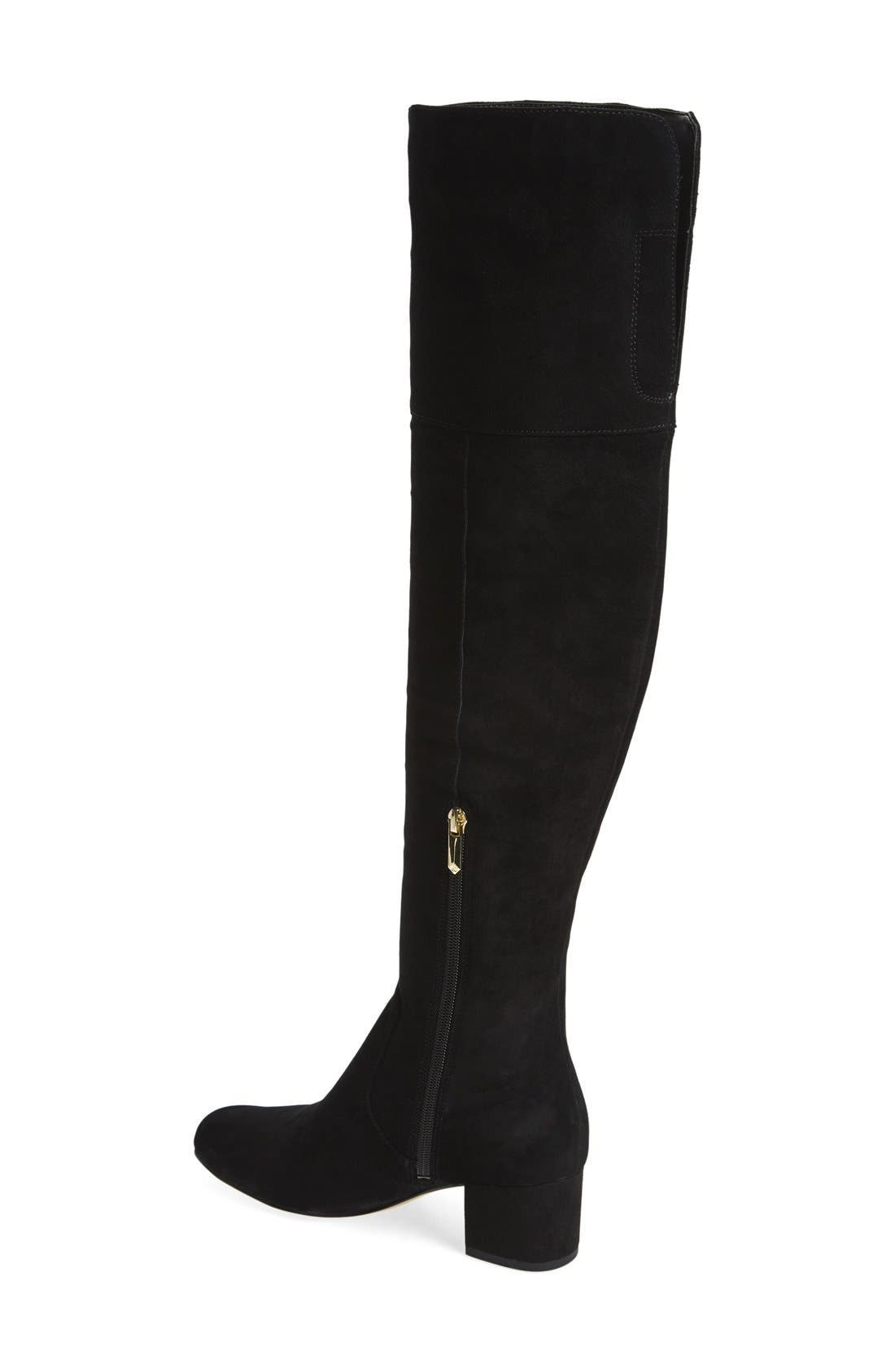'Elina' Over the Knee Boot,                             Alternate thumbnail 2, color,                             Black Suede Leather