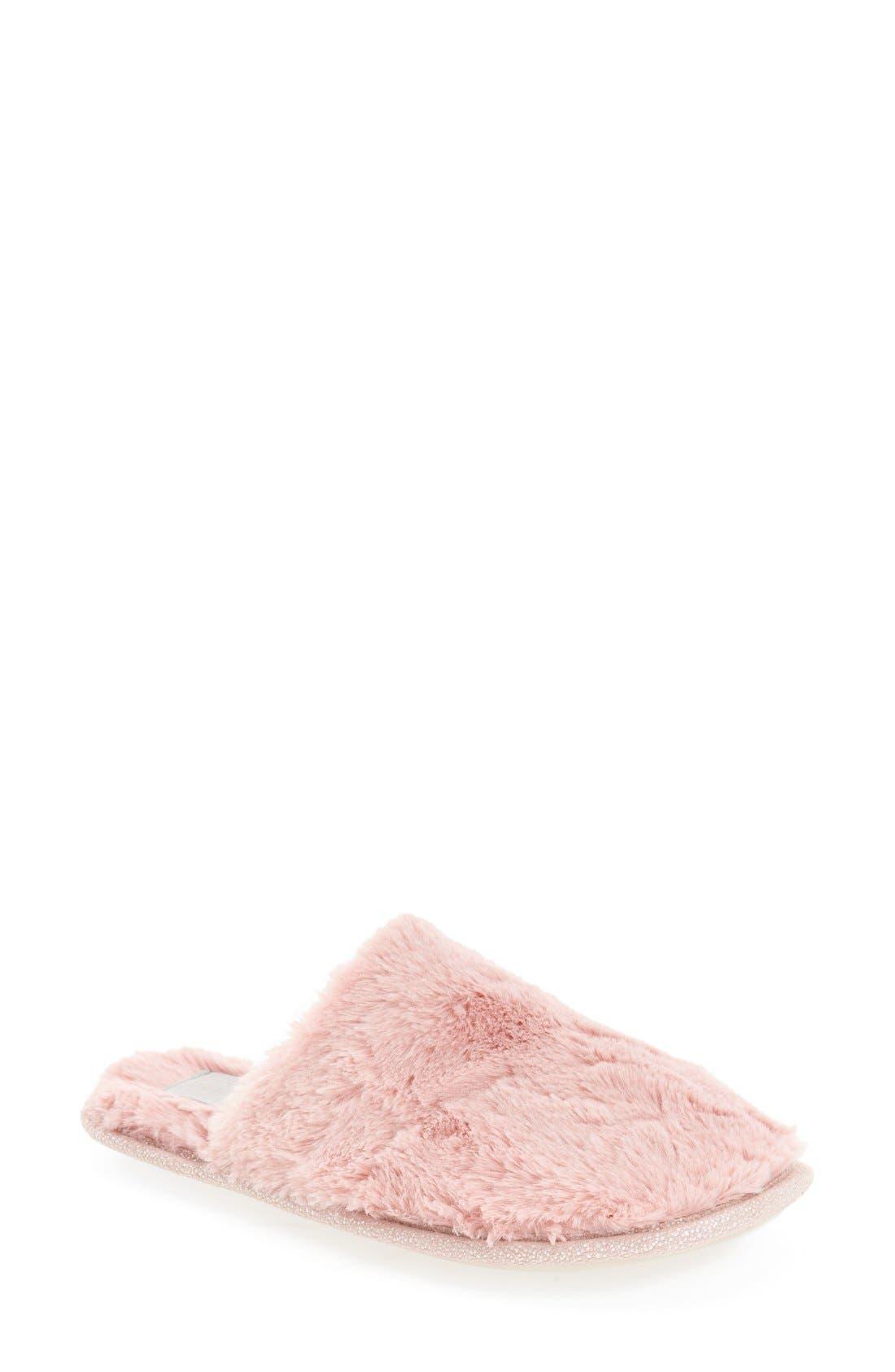 'Holland' Scuff Slipper,                             Main thumbnail 1, color,                             Blush Fabric