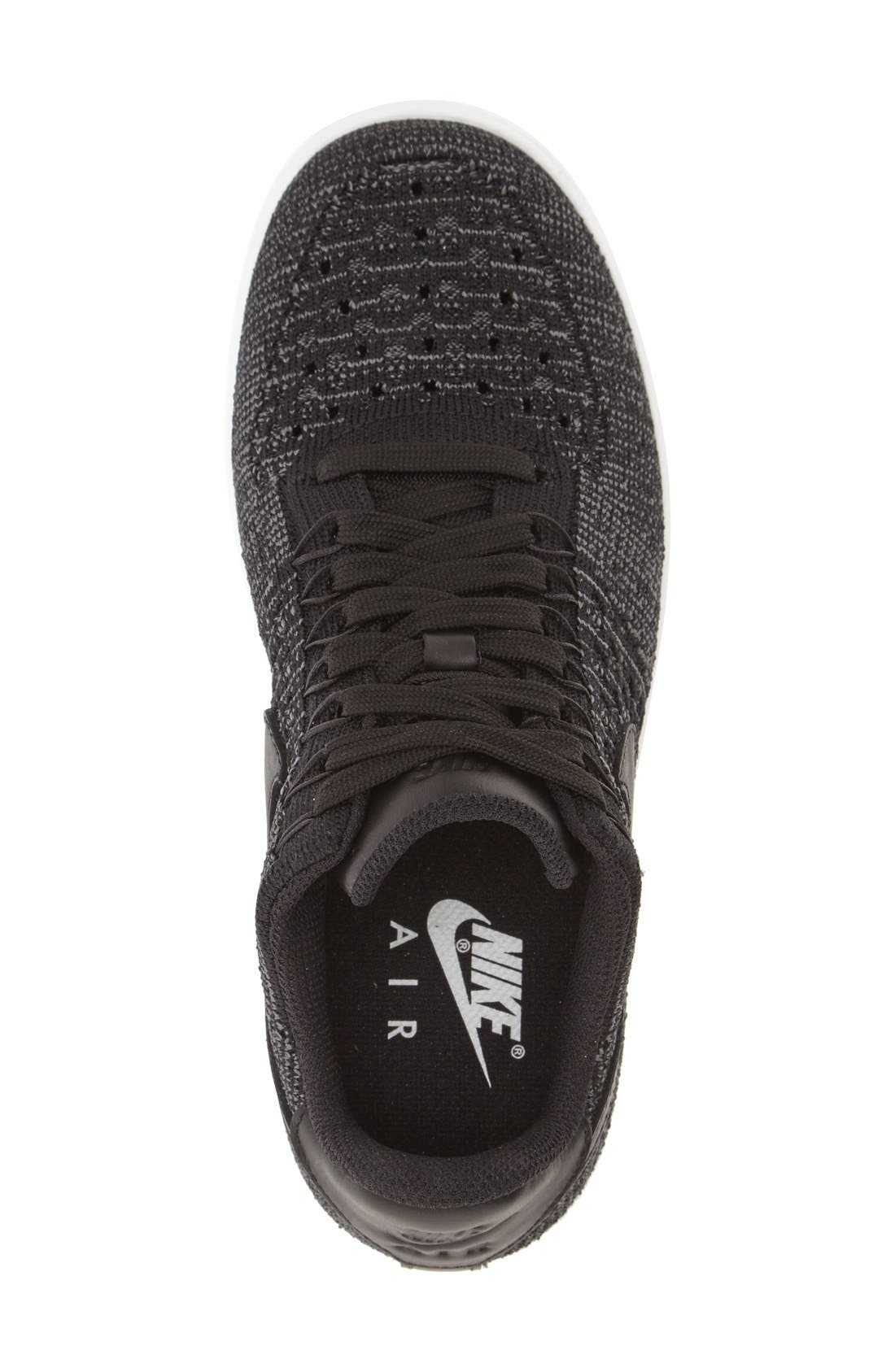 'Air Force 1 Flyknit Low' Sneaker,                             Alternate thumbnail 3, color,                             Black/ Black/ White