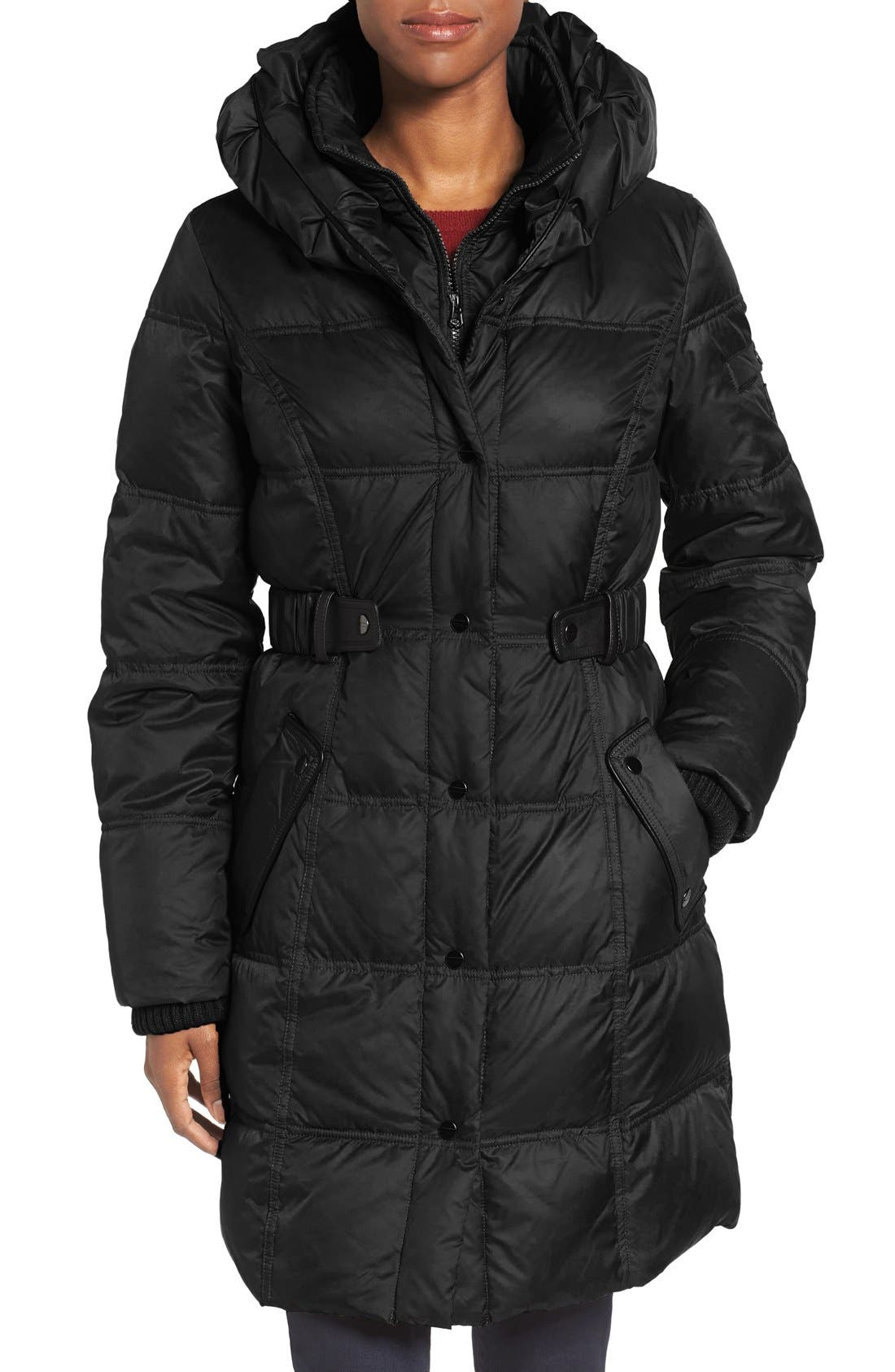 Quilted Down & Feather Fill Coat,                         Main,                         color, Black