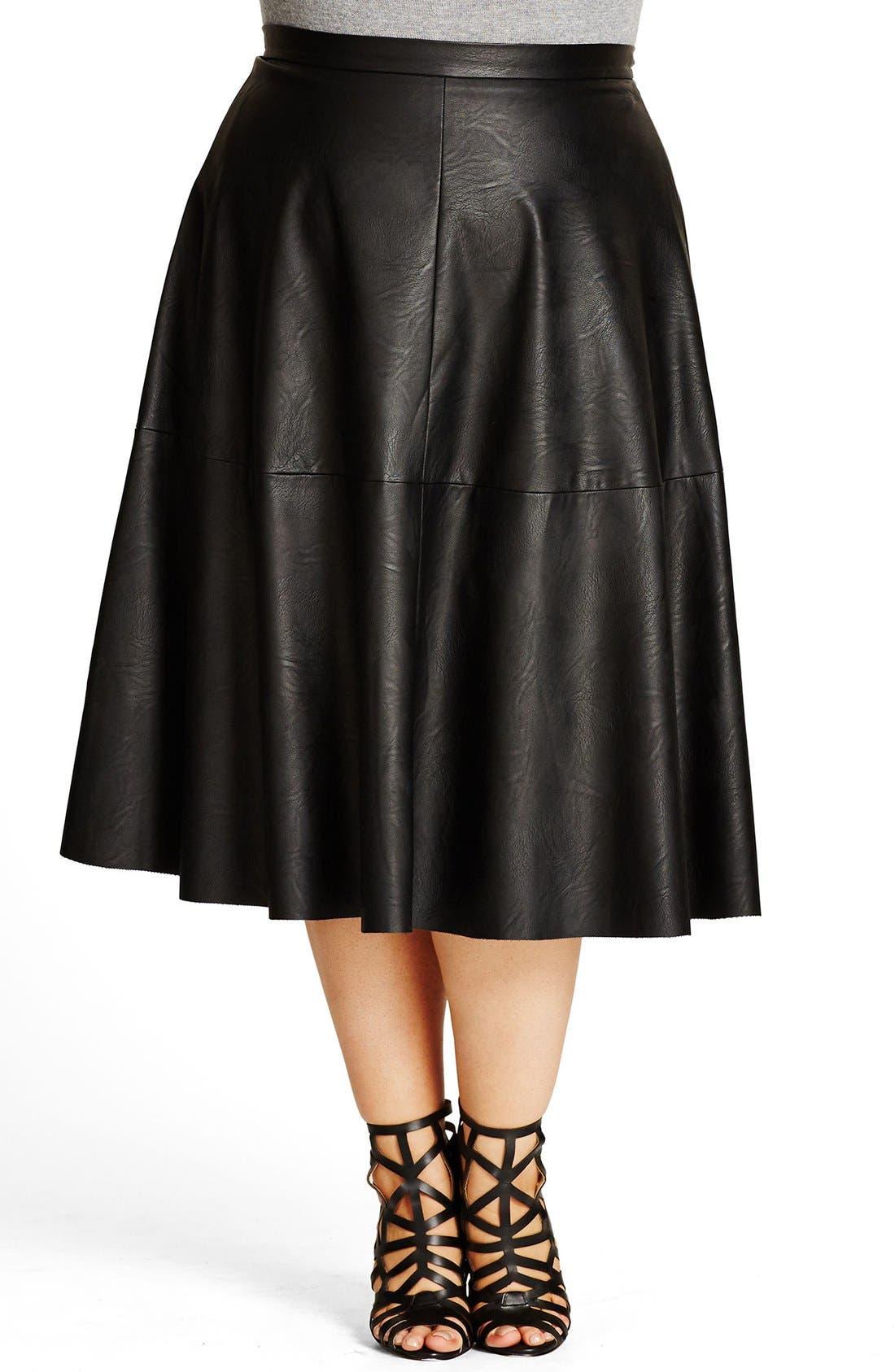 City Chic 'Flirt' Faux Leather Midi Skirt (Plus Size)